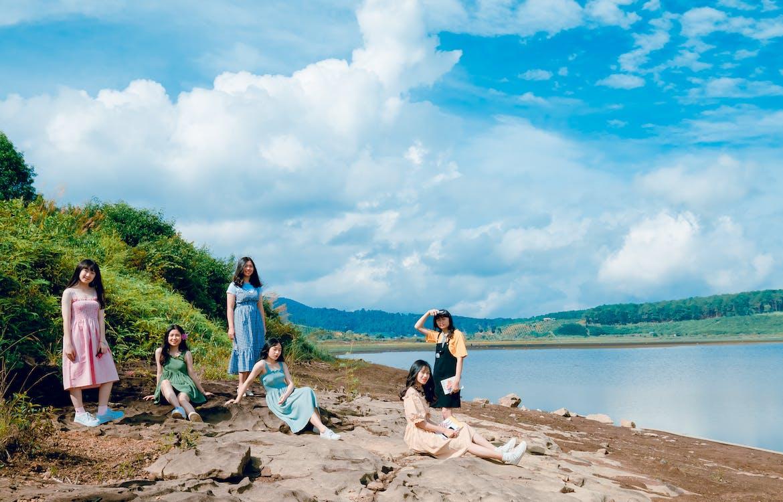 azjatyckie dziewczyny, chmury, dziewczyny