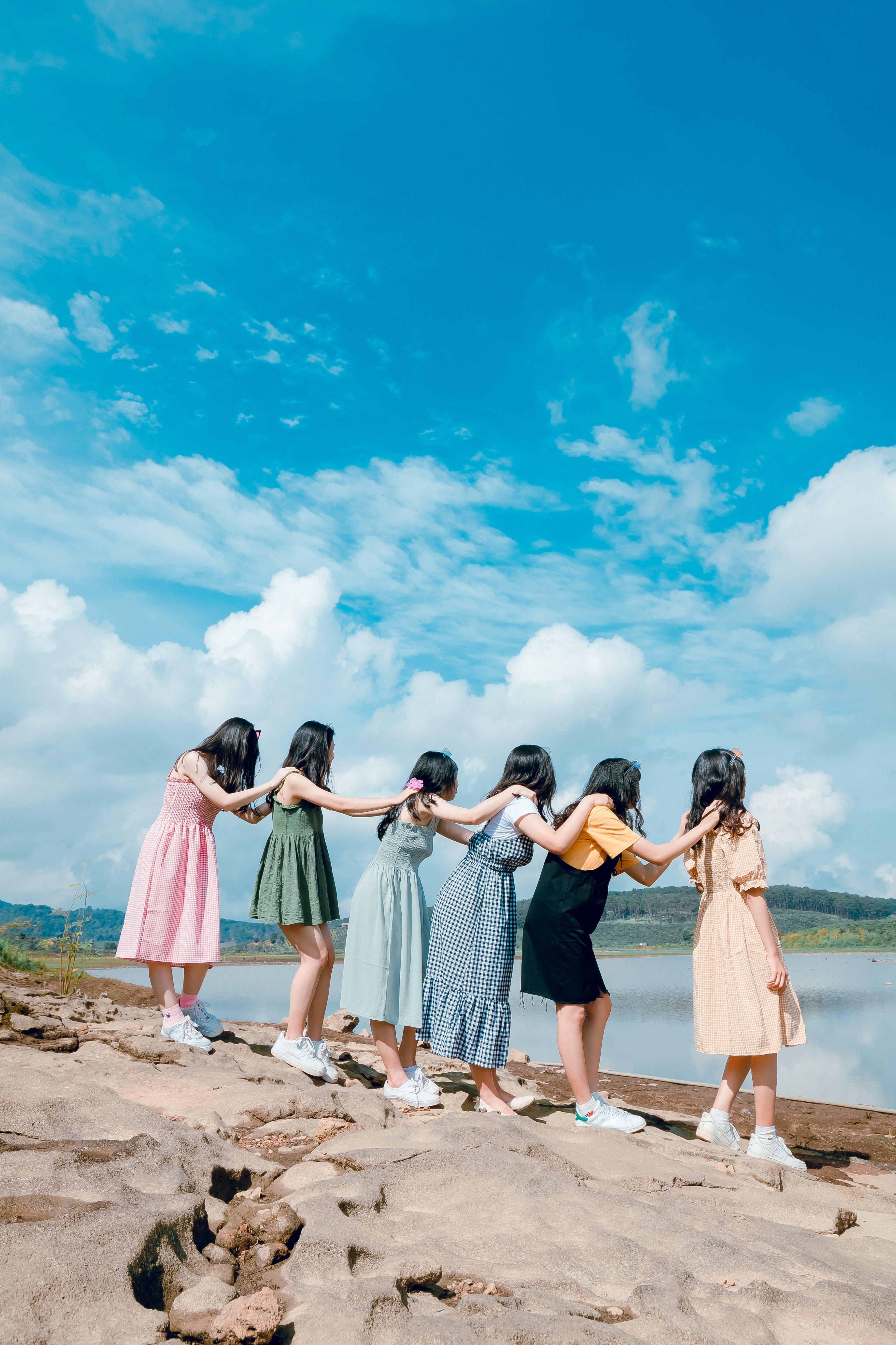 Six Women Lining Up