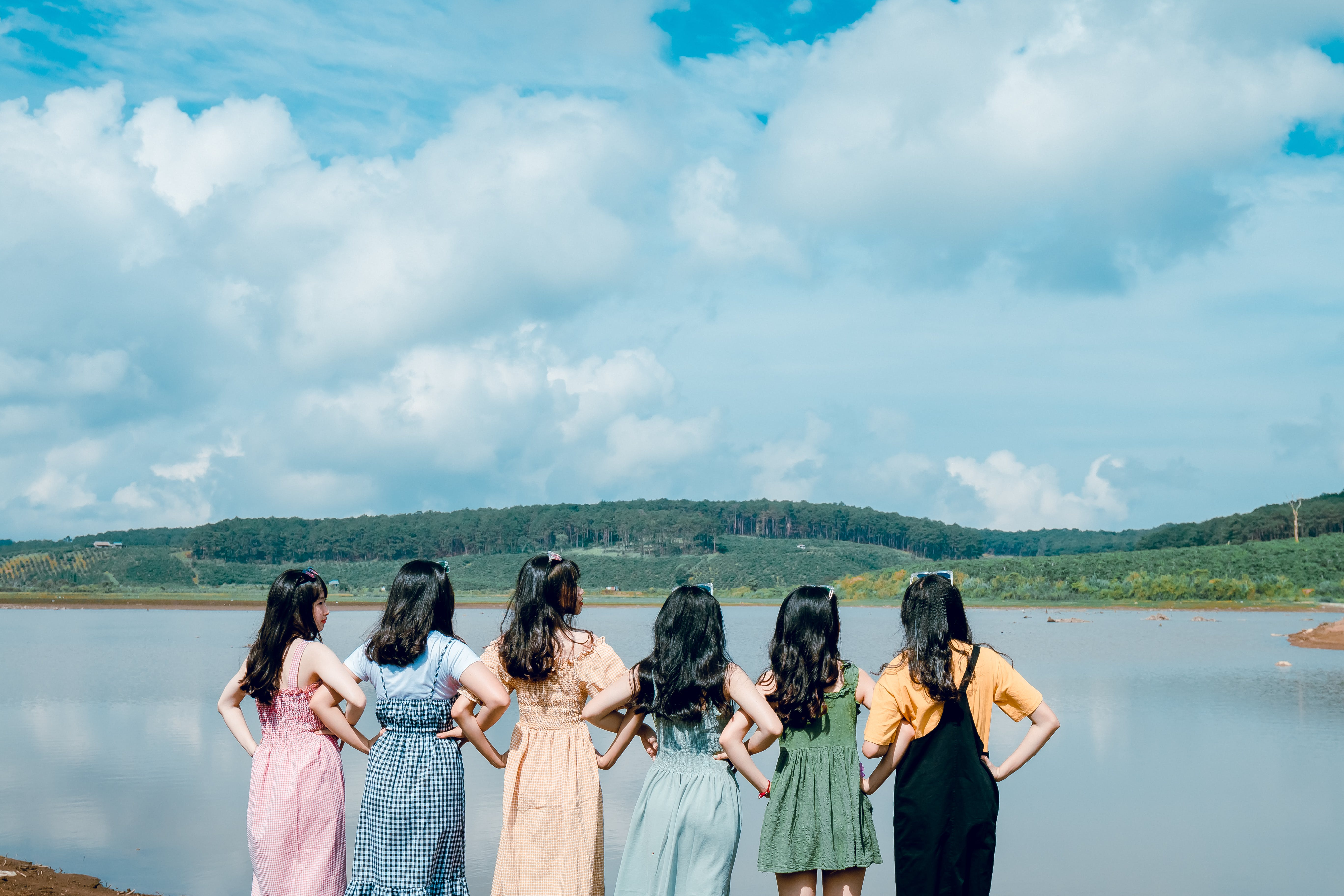 Six Girls in Front of Body of Water