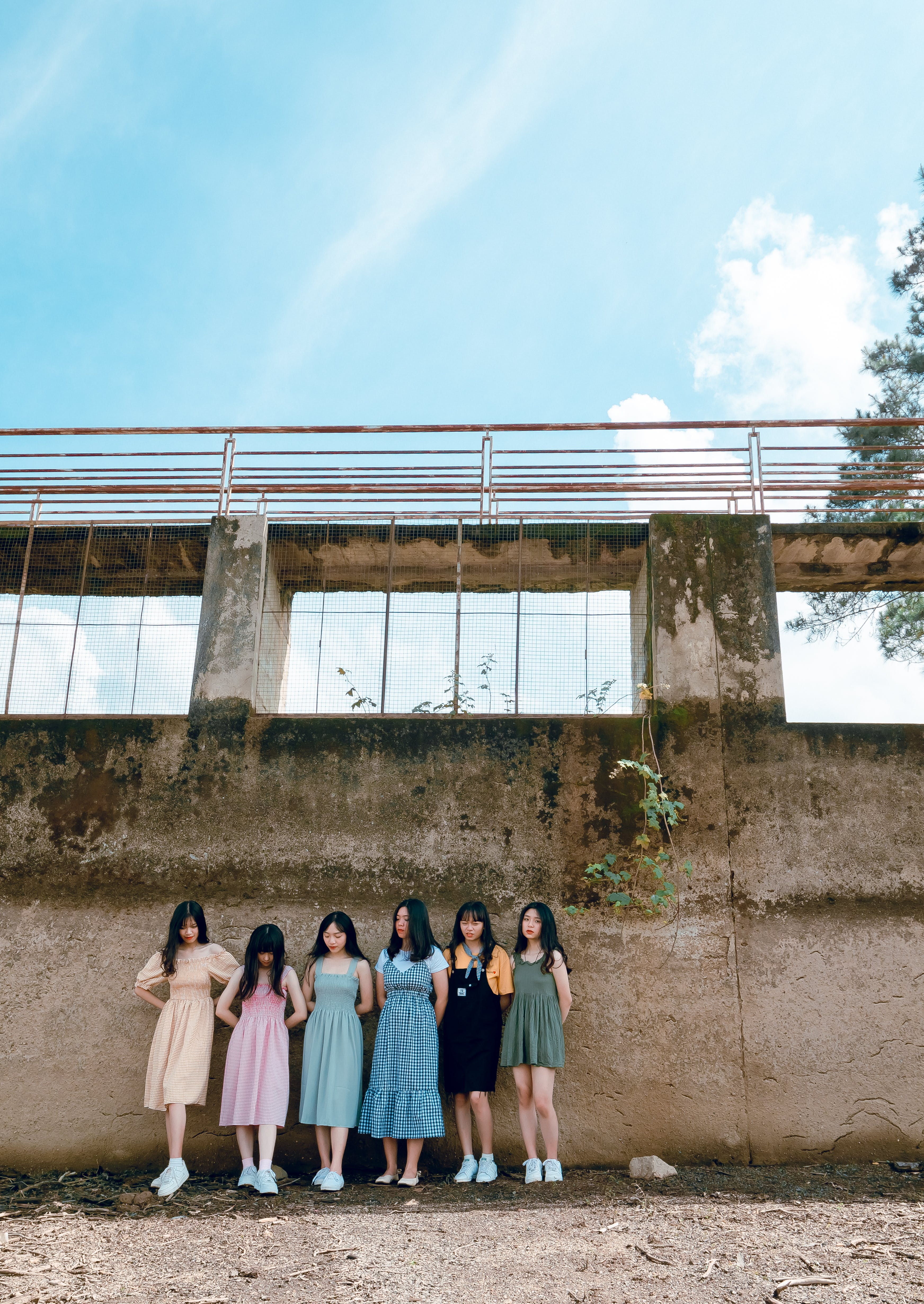 Six Girls on Leaning on Walls