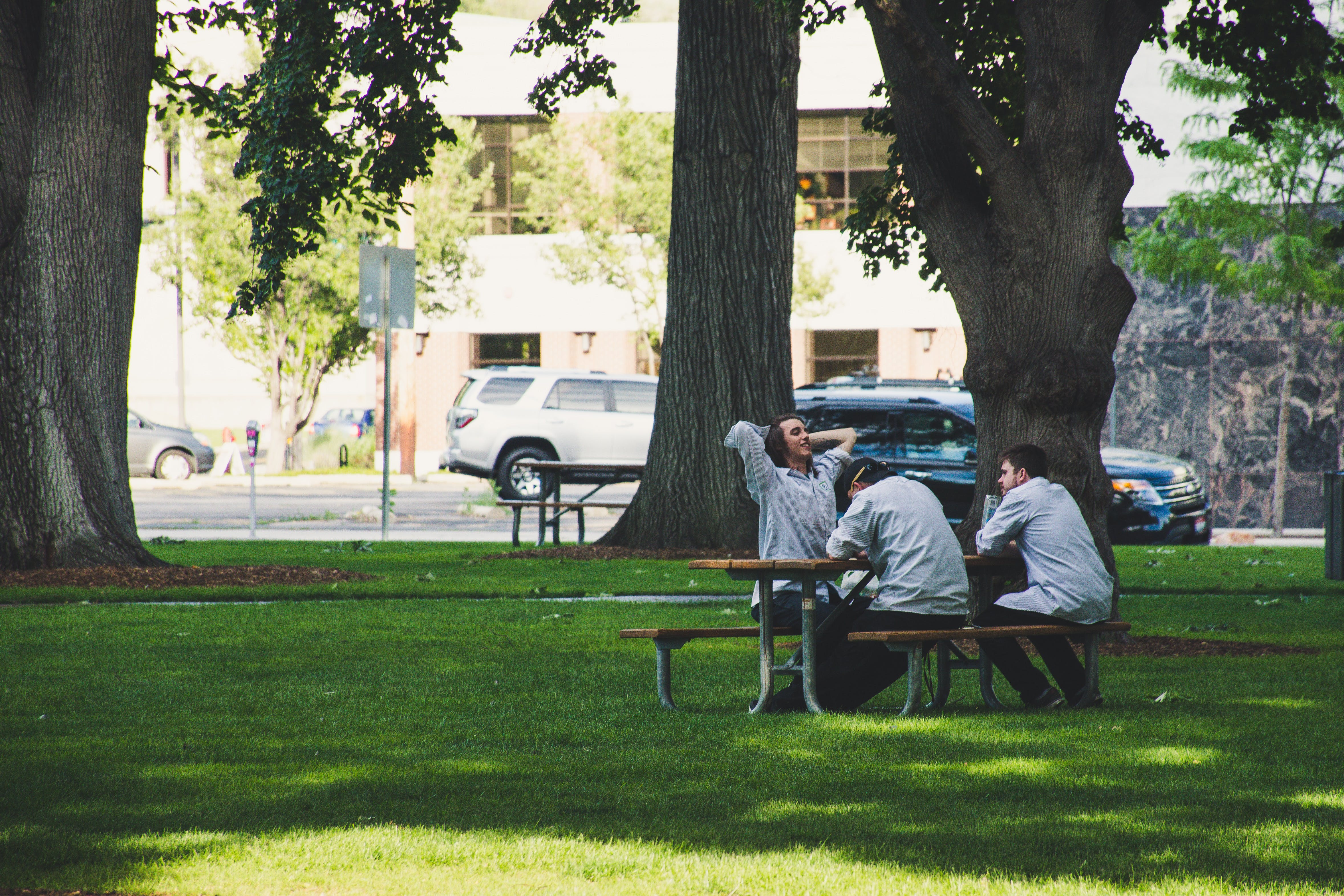 Photo Of Men Sitting On Picnic Bench