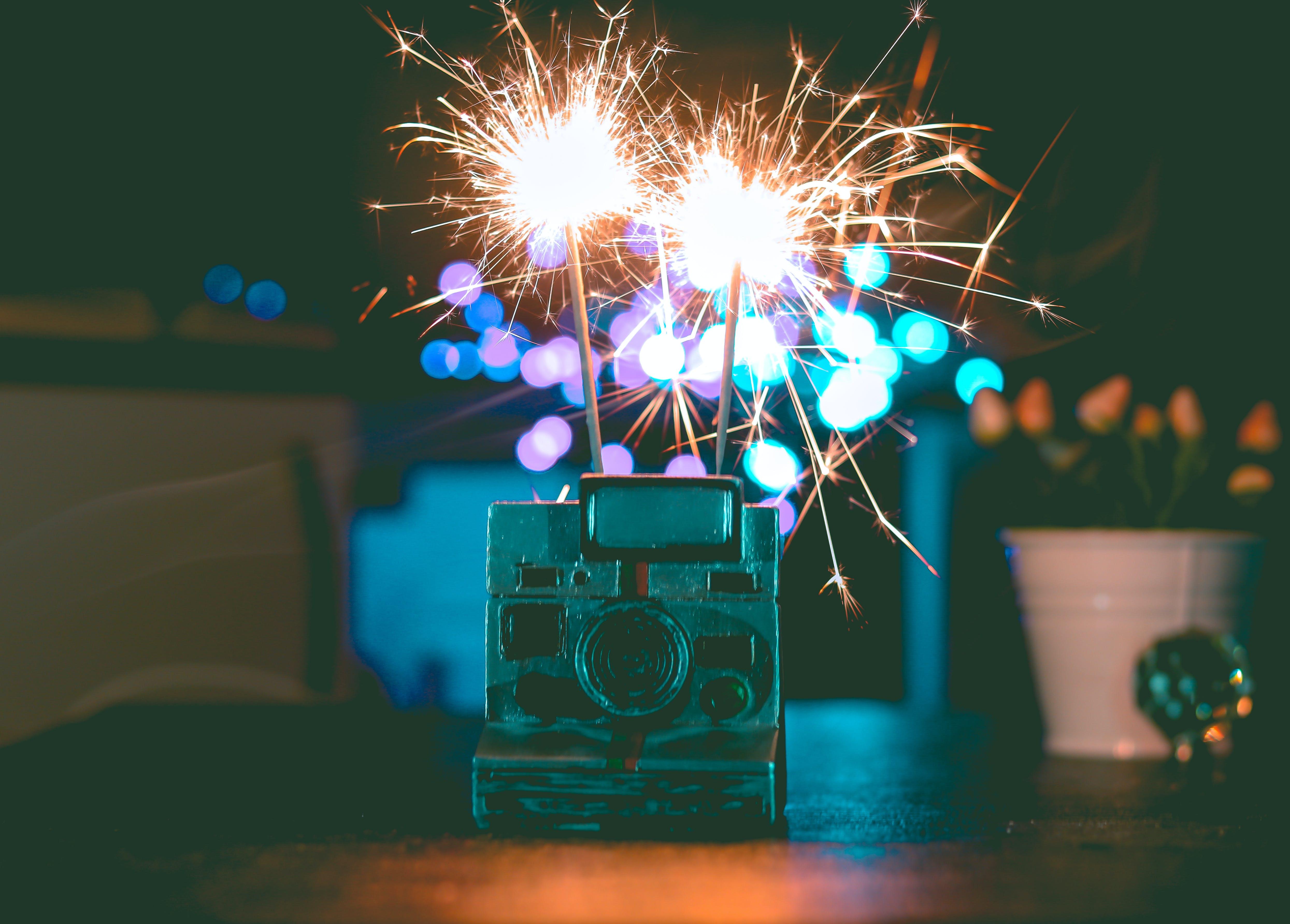 Polaroid Camera And Fireworks