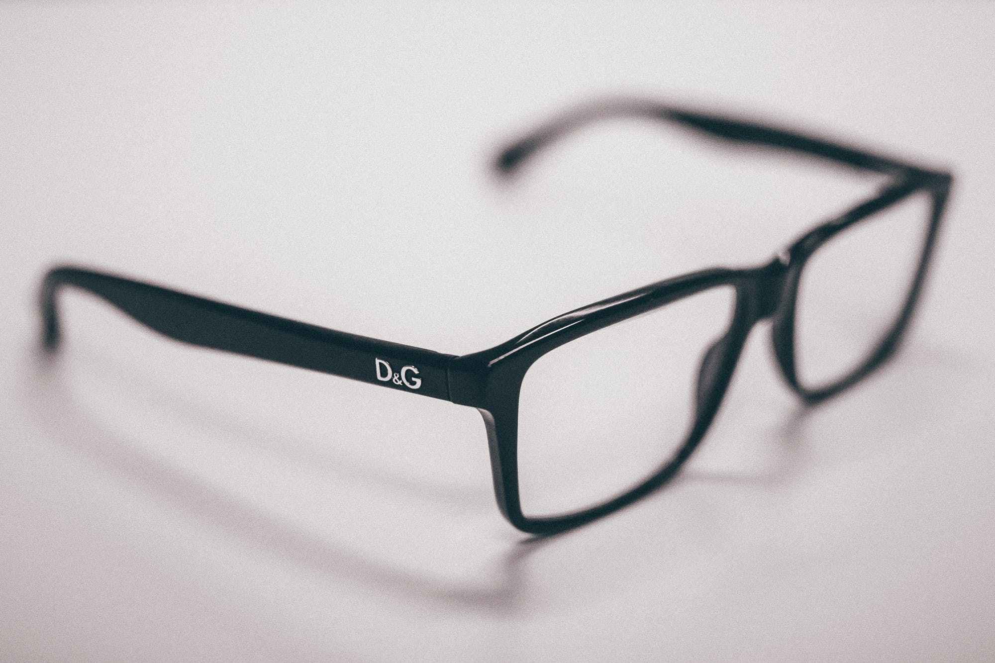 Black Dolce & Gabanna Eyeglasses on White Surface