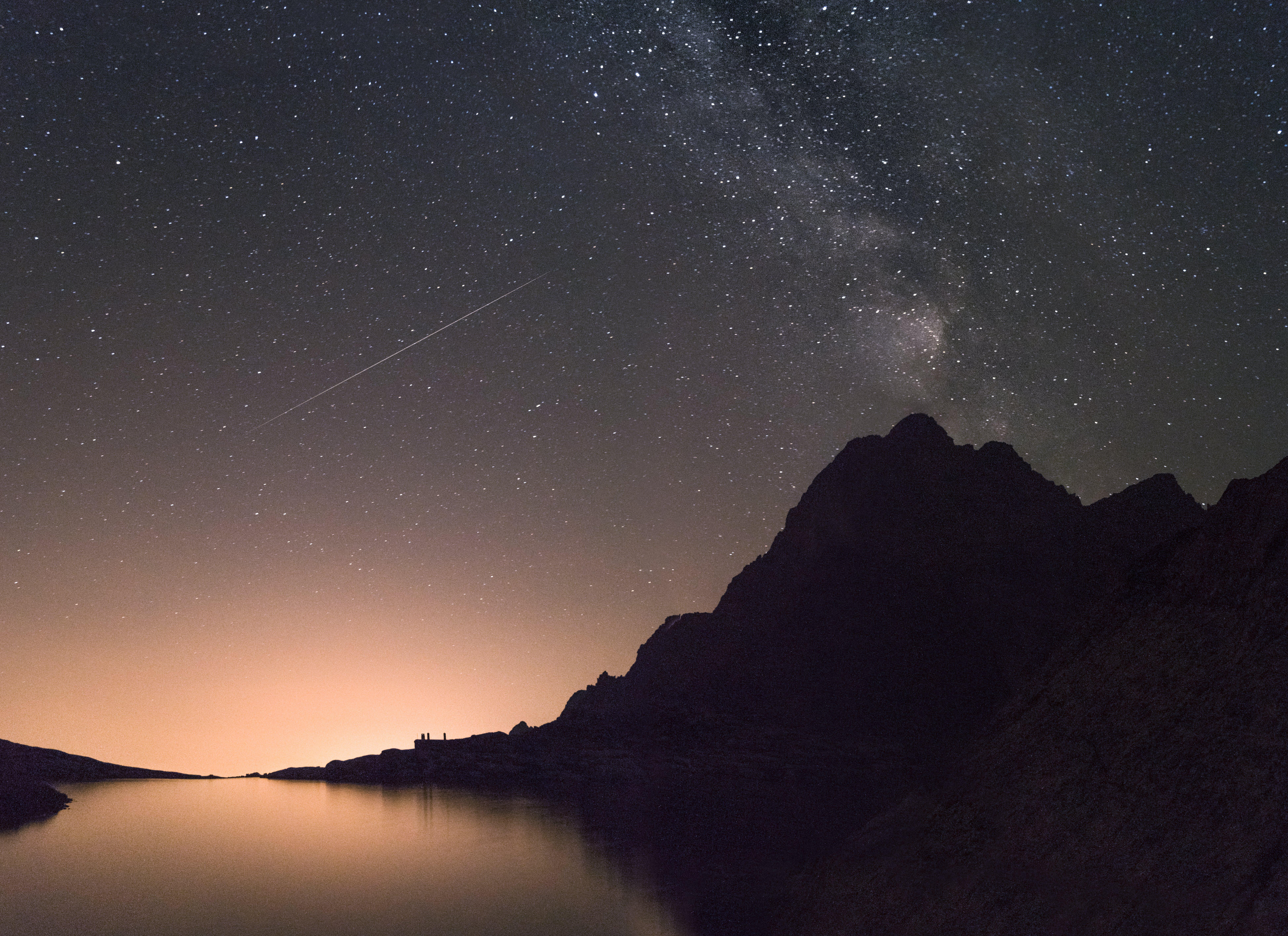 Kostenloses Stock Foto zu himmel, nacht, silhouette, berg