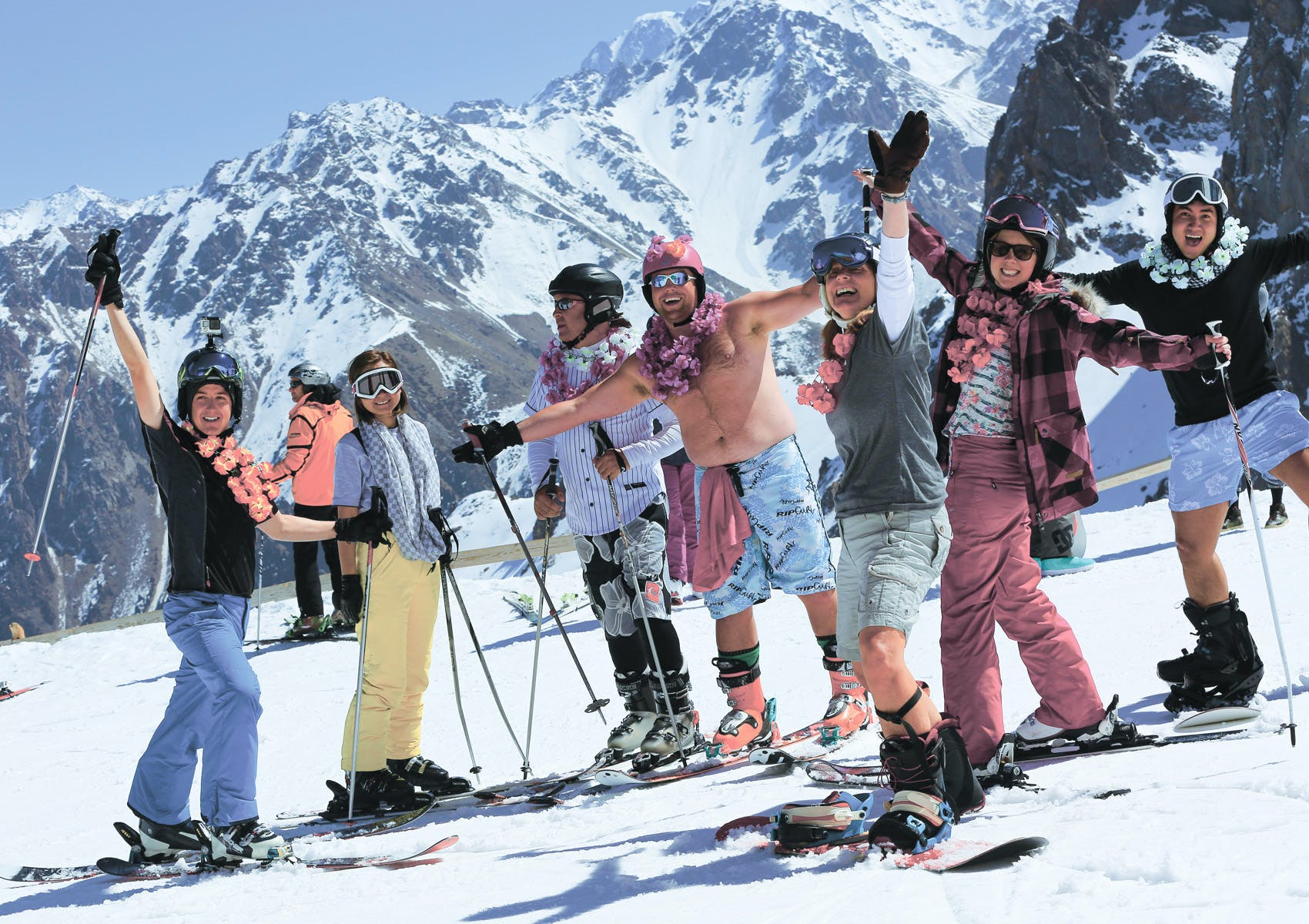 Group of People Snow Skiing