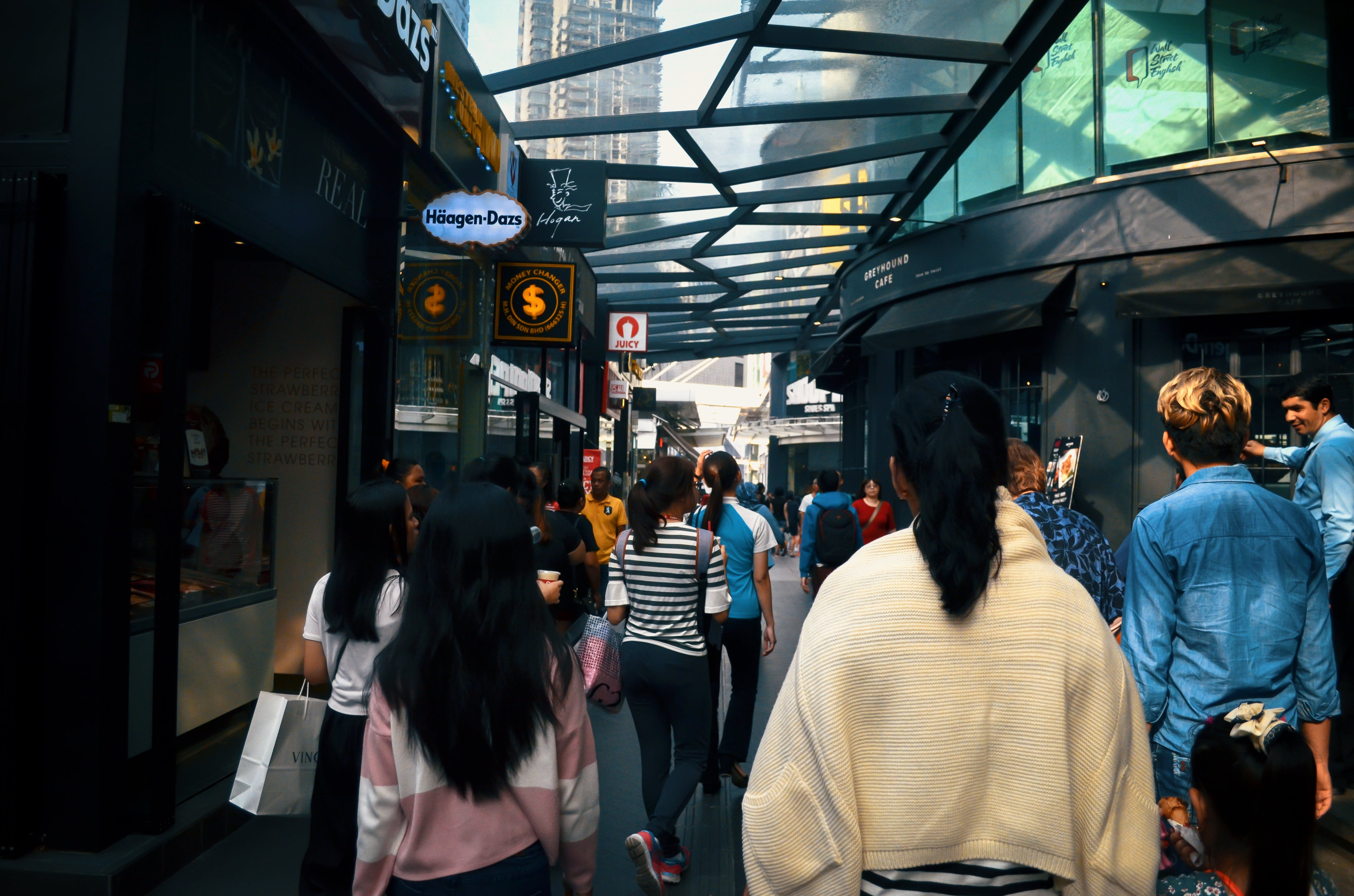 Free stock photo of people, shops, street