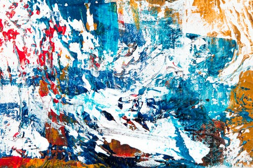 Blue, White, Red, and Yellow Abstract Painting