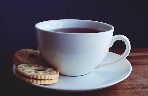 Close Upfotografie Van Een Kopje Koffie Bij Koekjes