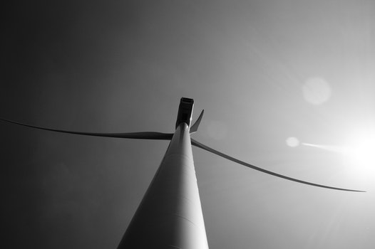 Free stock photo of black-and-white, lens flare, windmills