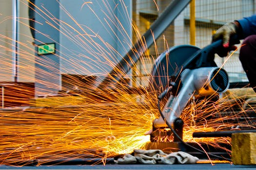 Cut-off Saw Cutting Metal With Sparks