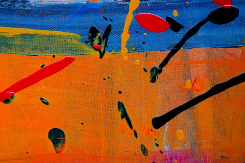 Orange, Black, and Blue Abstract Painting