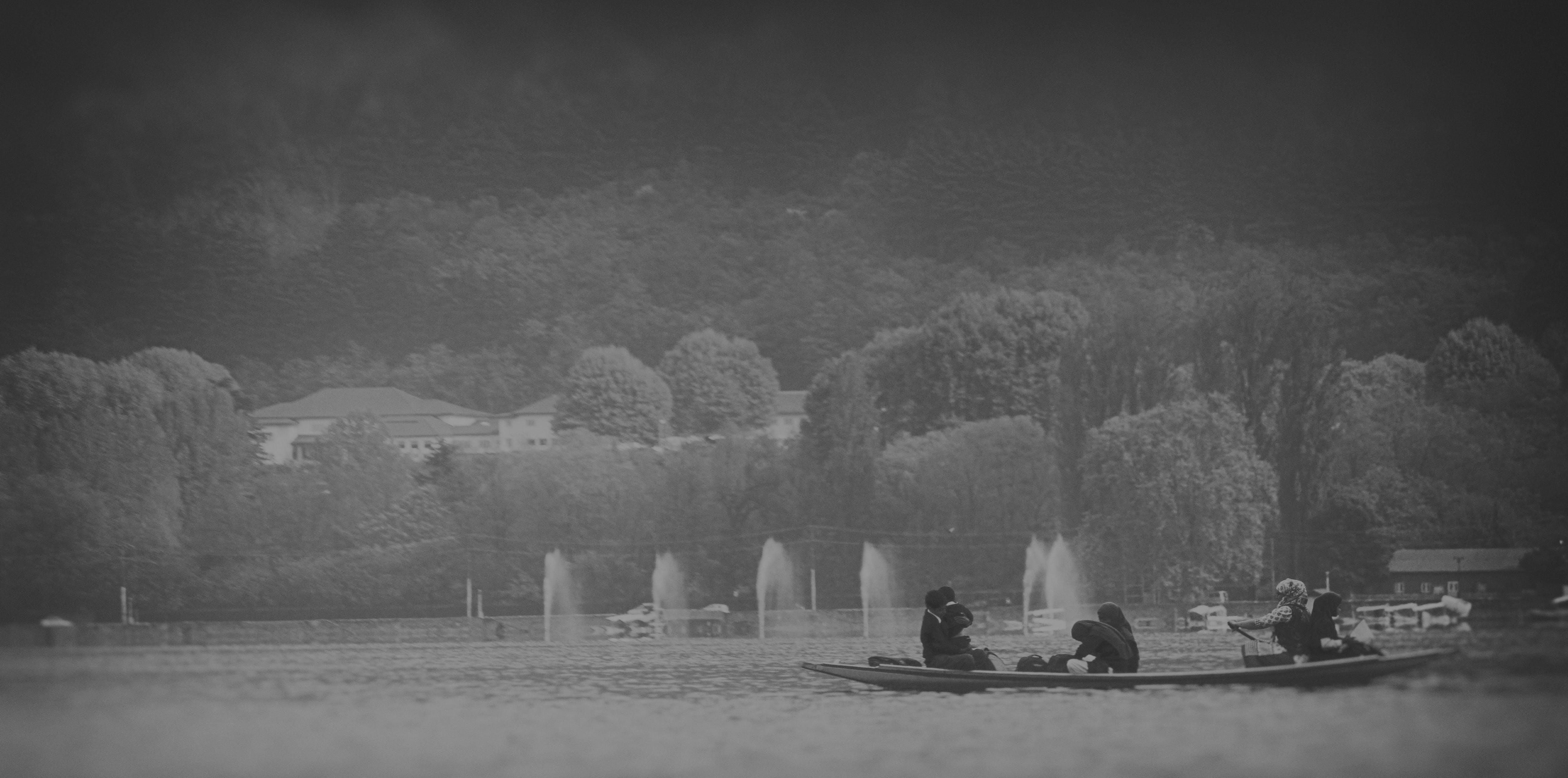 Free stock photo of black and white, boat, lake, monochrome photography