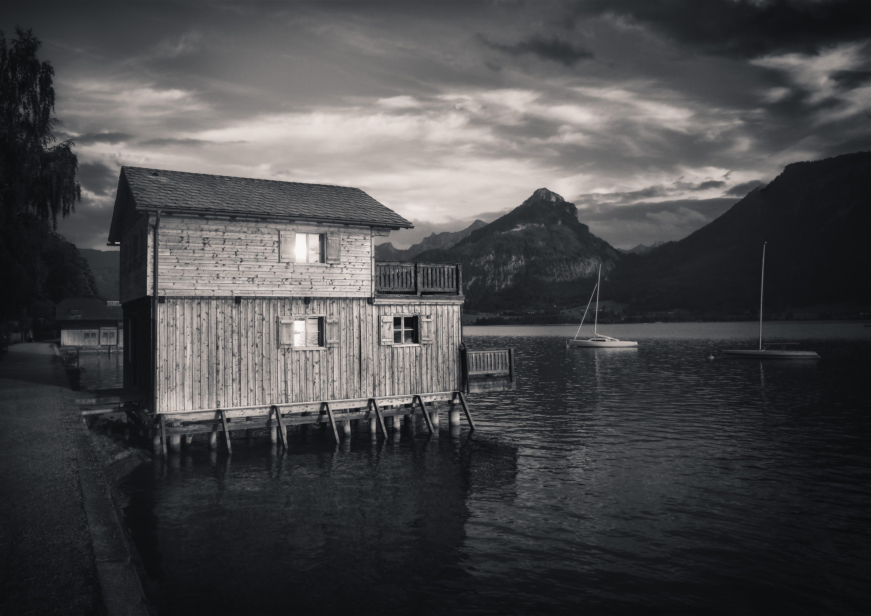 Kostenloses Stock Foto zu berge, boot, himmel, landschaft