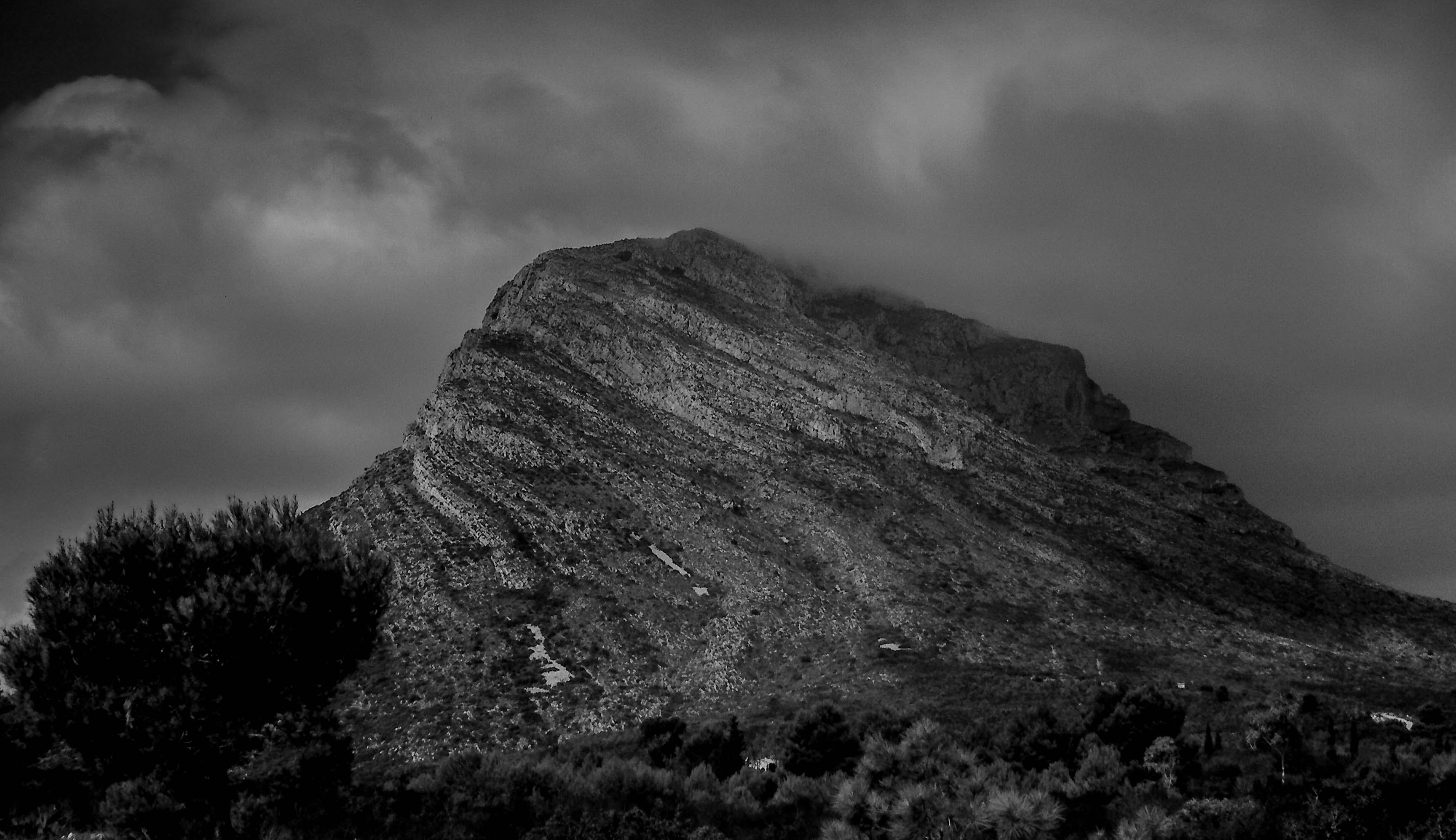 Grayscale Photo of a Mountain
