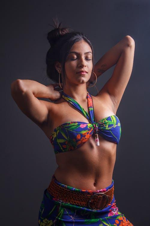 Woman Wearing Multicolored Floral Bikini Top