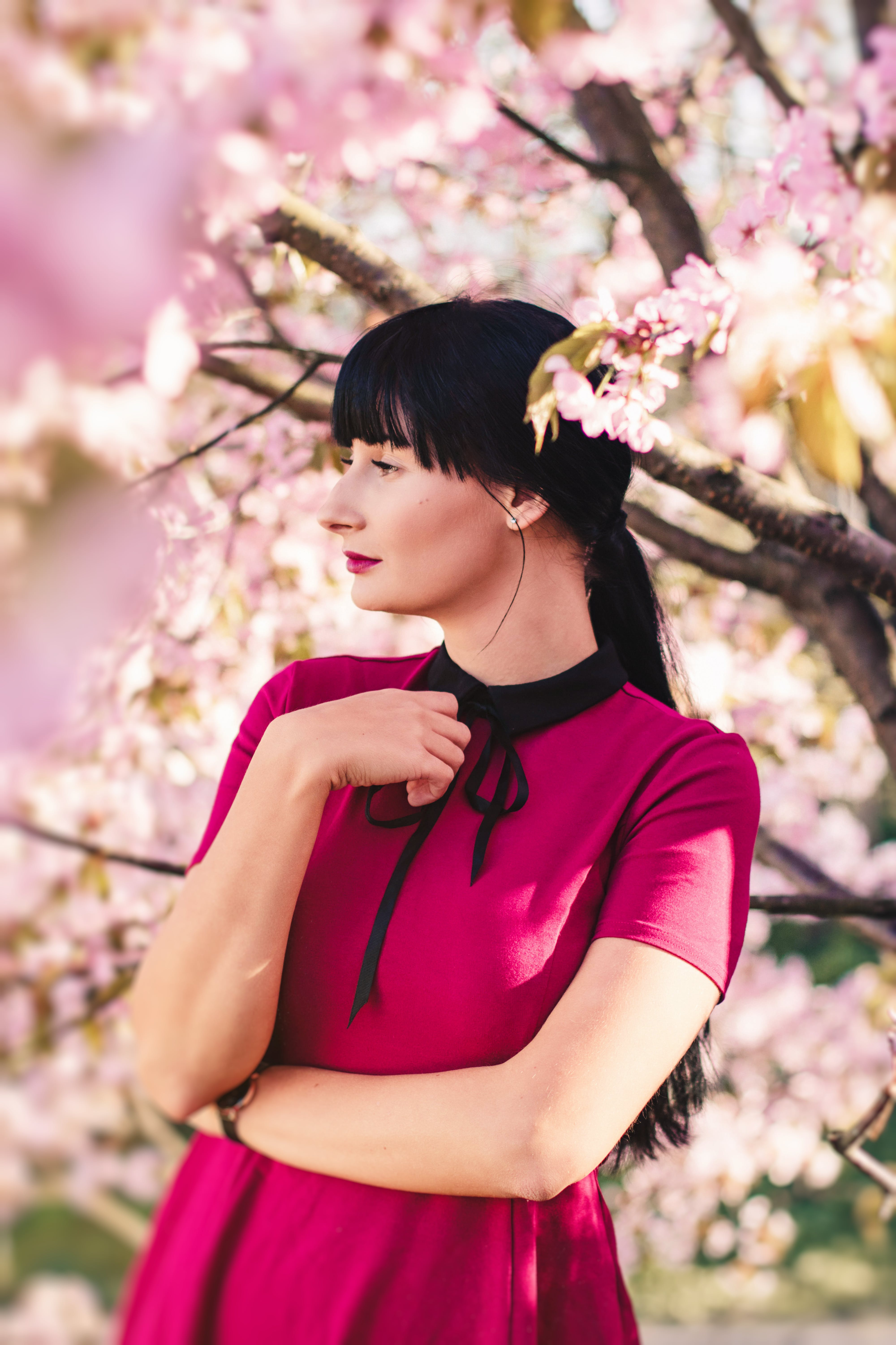 Woman Standing Beside Sakura Tree