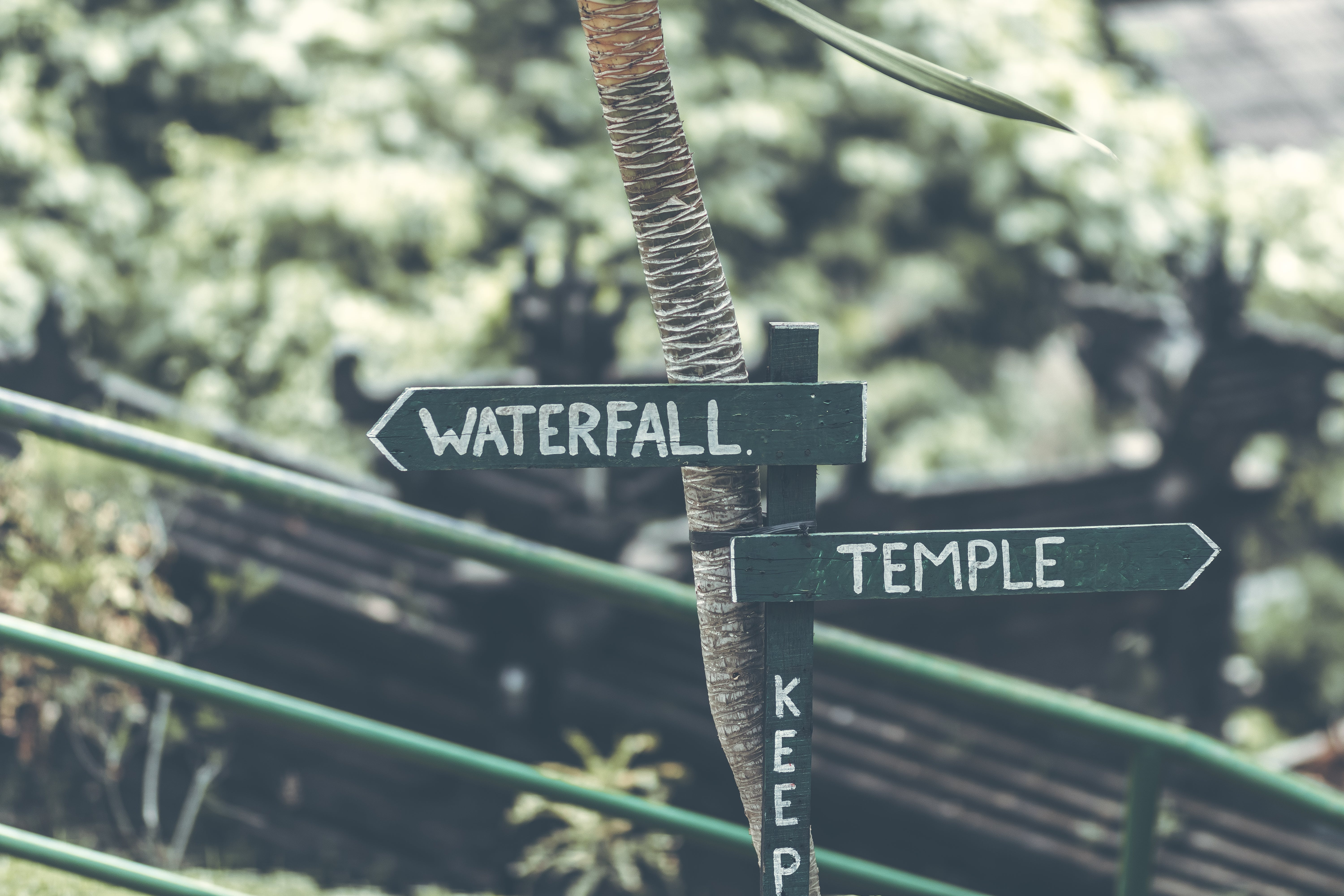 Waterfall Temple Signage