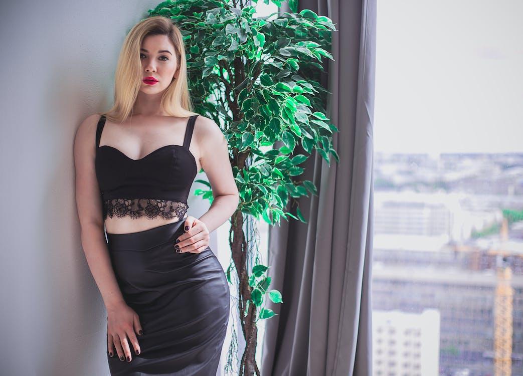 Woman Wearing Black Lace Crop Top