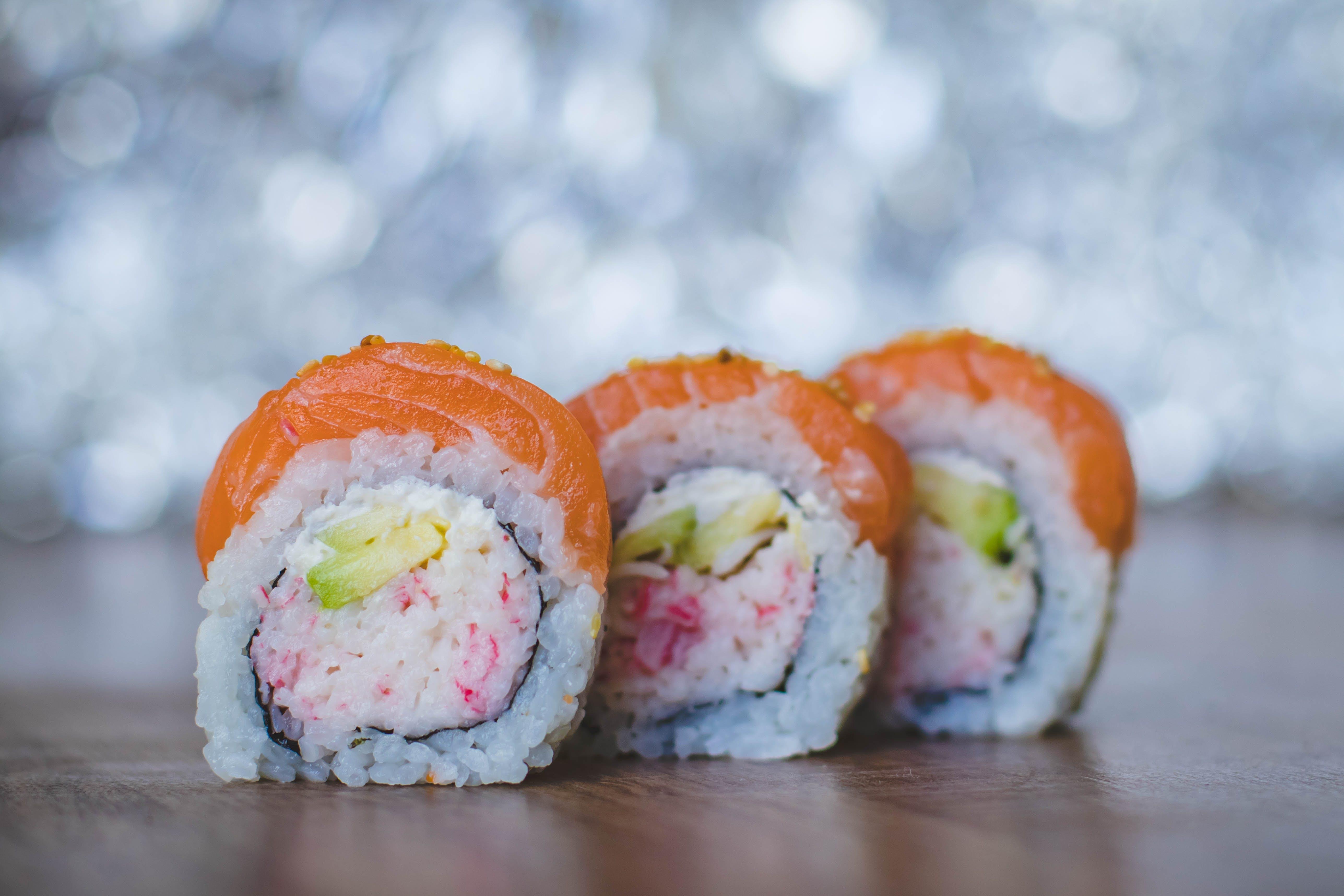 Close-Up Photo of Three Sushi