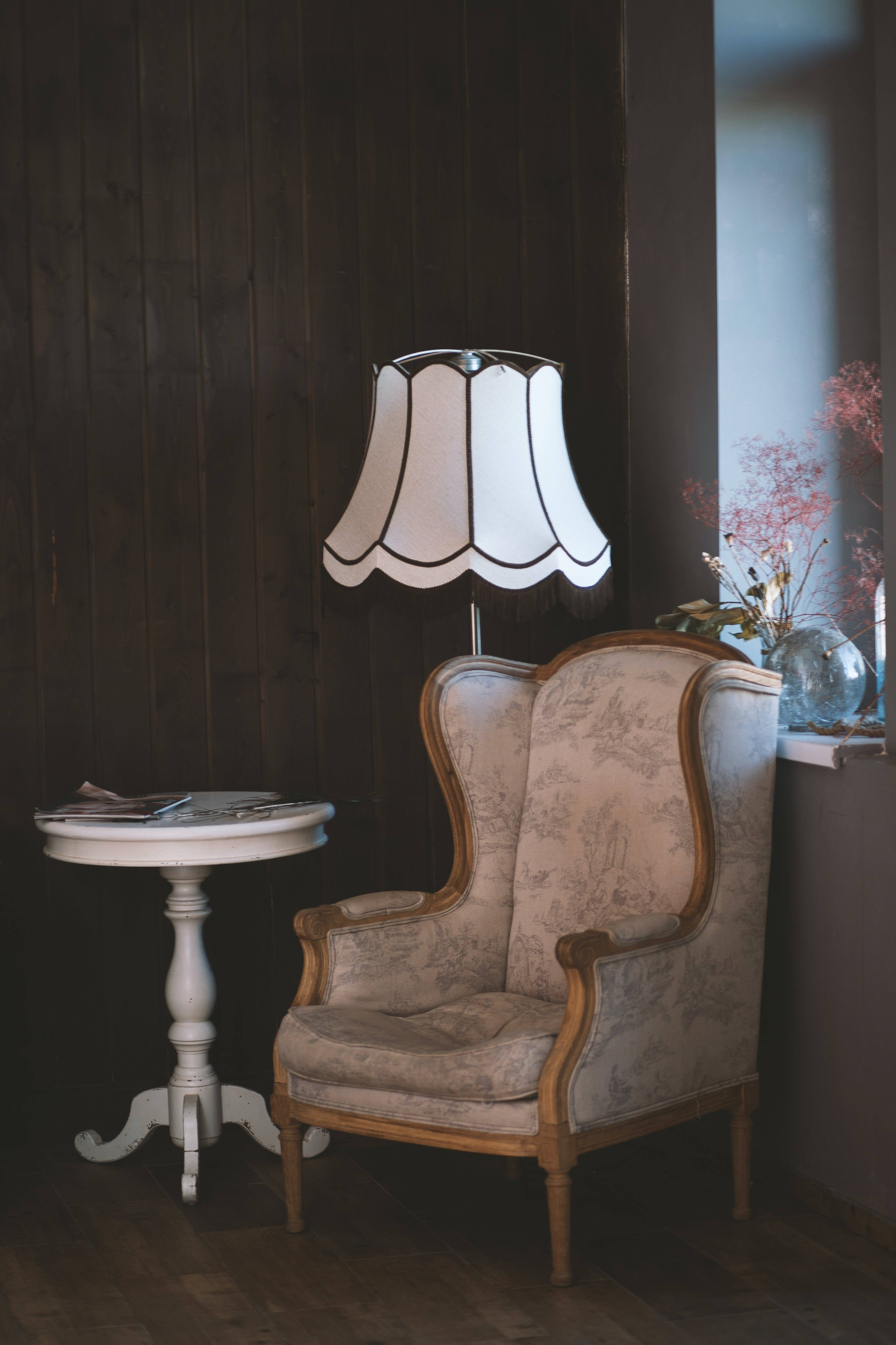 Brown and White Armchair