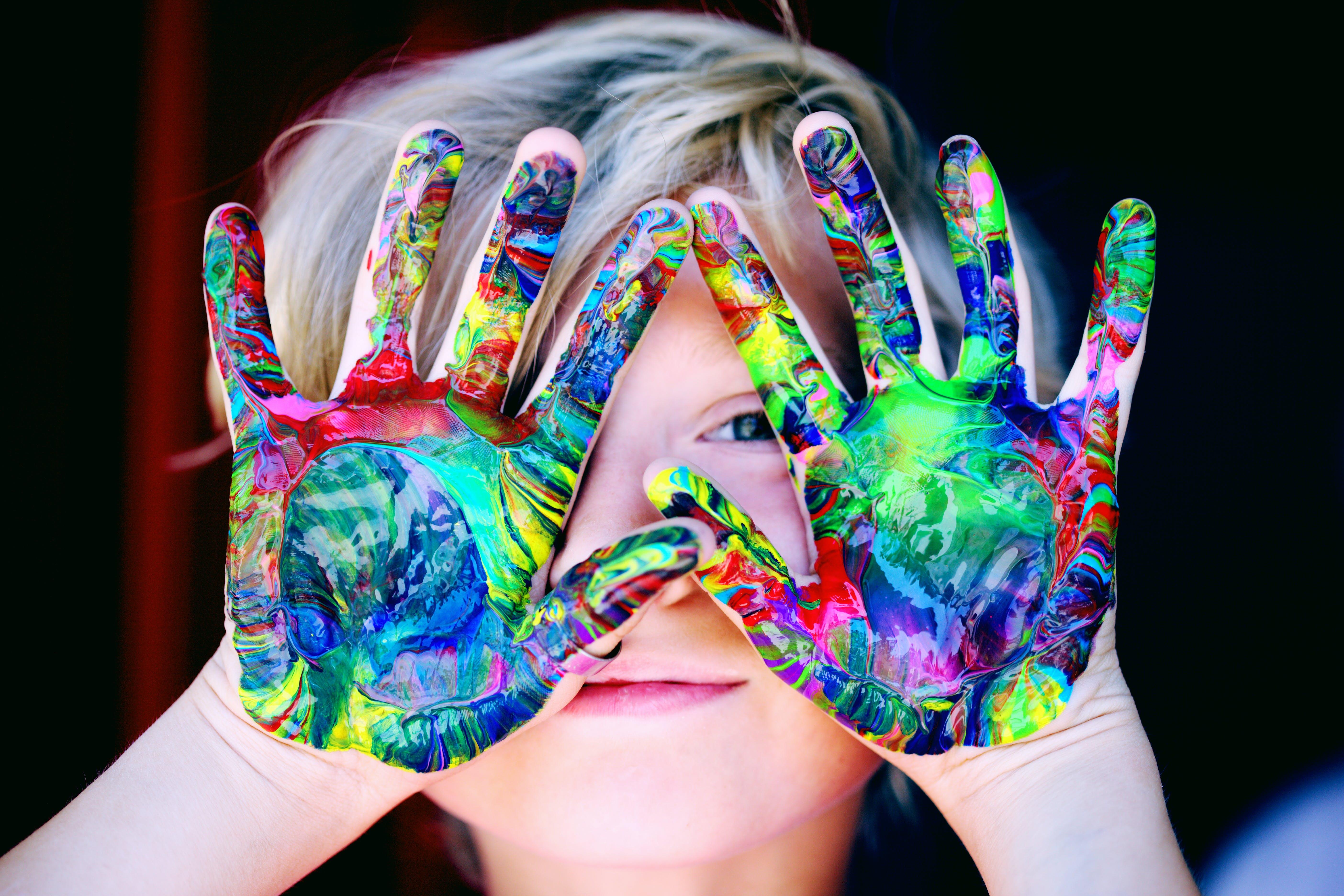 Children Multicolored Hand Paint