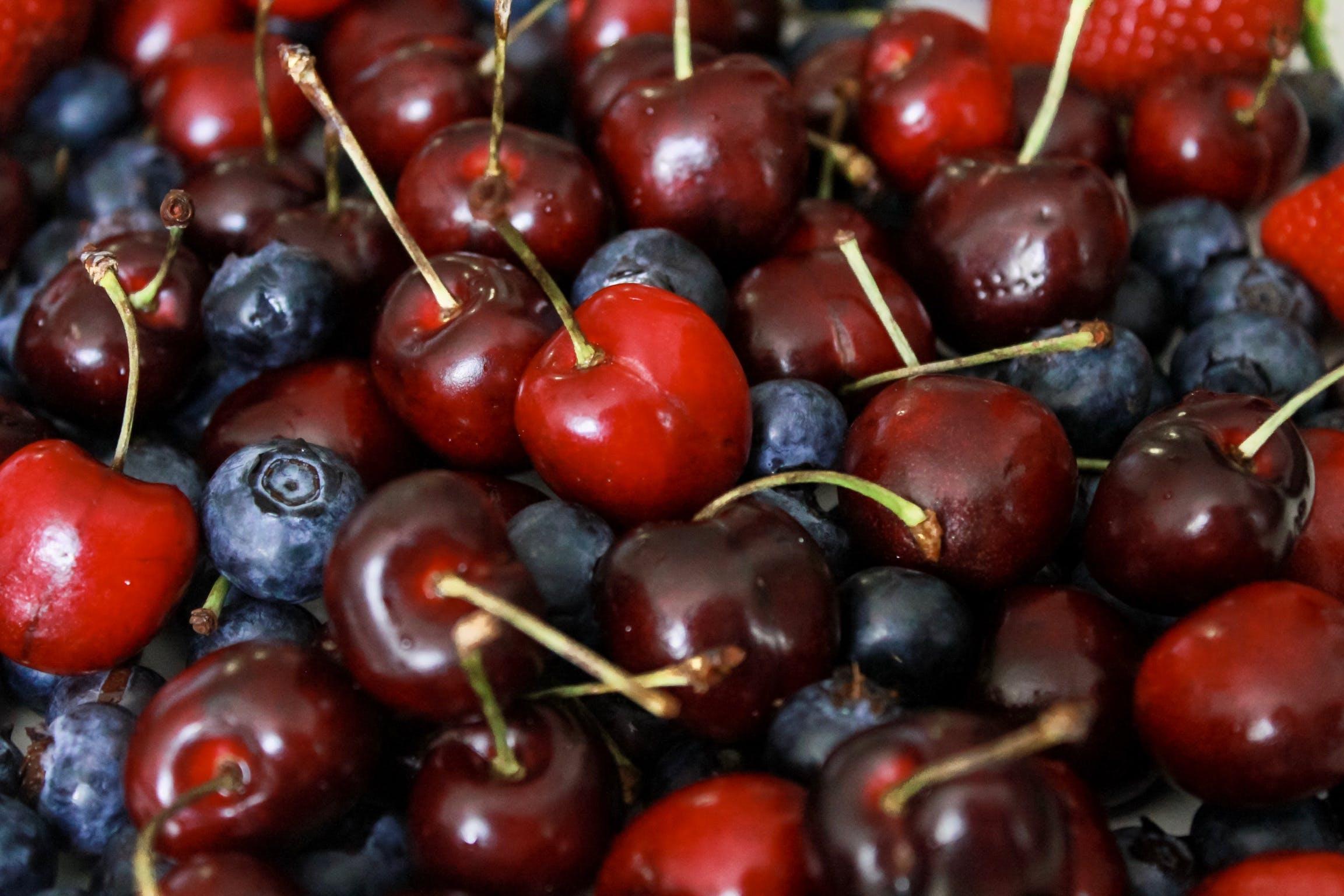 Closeup Photo of Bunch of Cherries