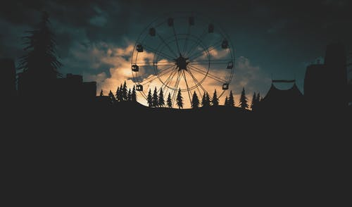 Free stock photo of buildings, carousel, circus, clouds