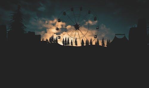 Photos gratuites de arbres, bâtiments, carrousel, ciel
