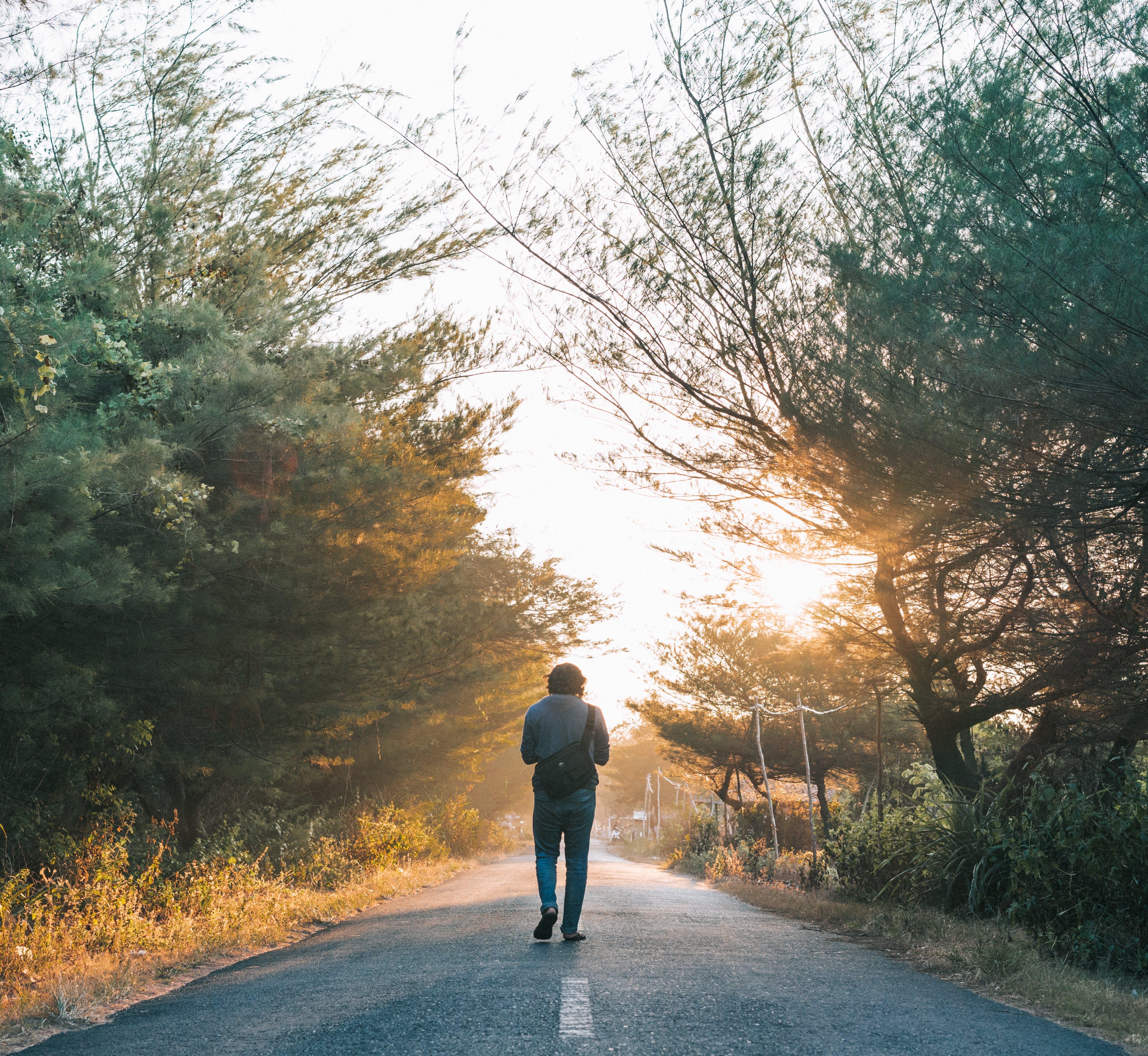 Man Walking on the Gray Asphalt Road