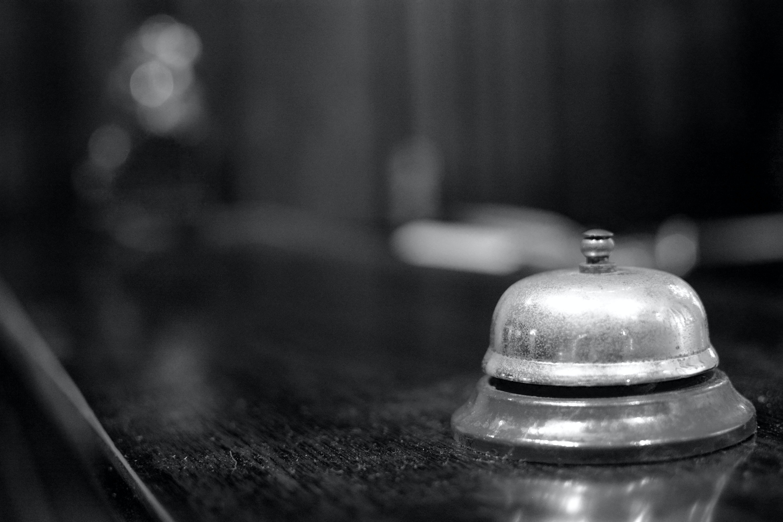Free stock photo of bell, black and white, desk, desk bell
