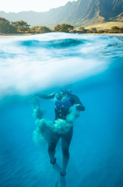 água, azul, curtição