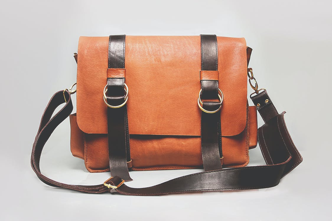 Orange and Black Leather Satchel Bag