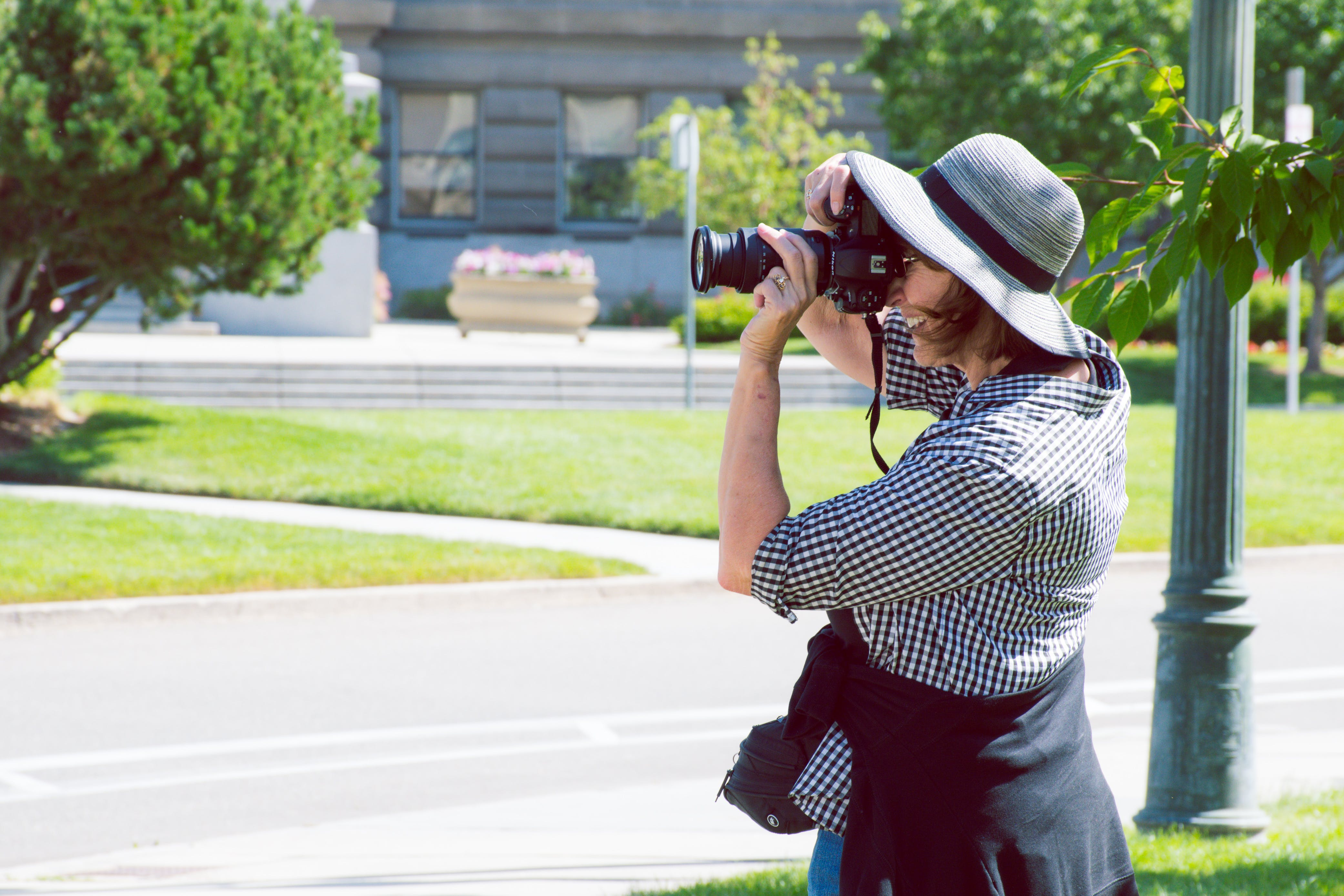 appareil photo, arbres, chapeau