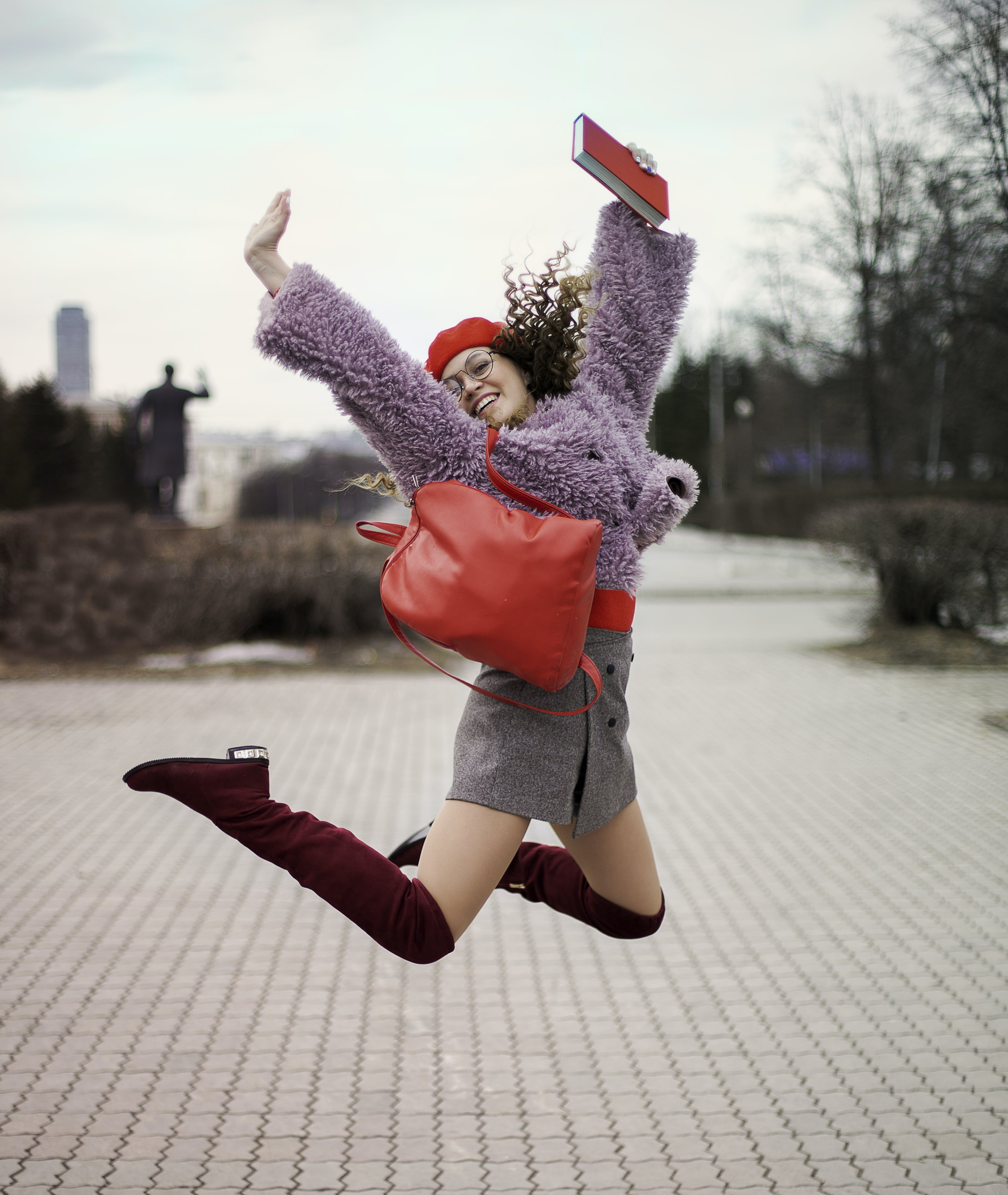 Women's Purple Fur Jacket