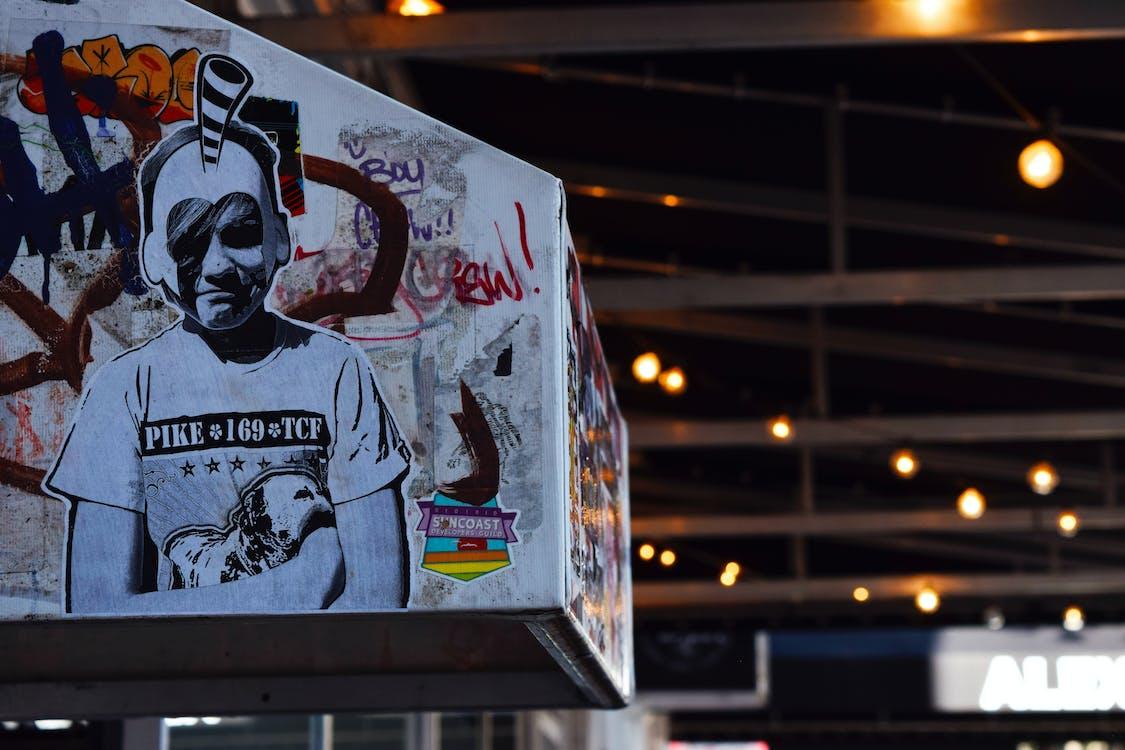 graffiti, ilustracja, portret