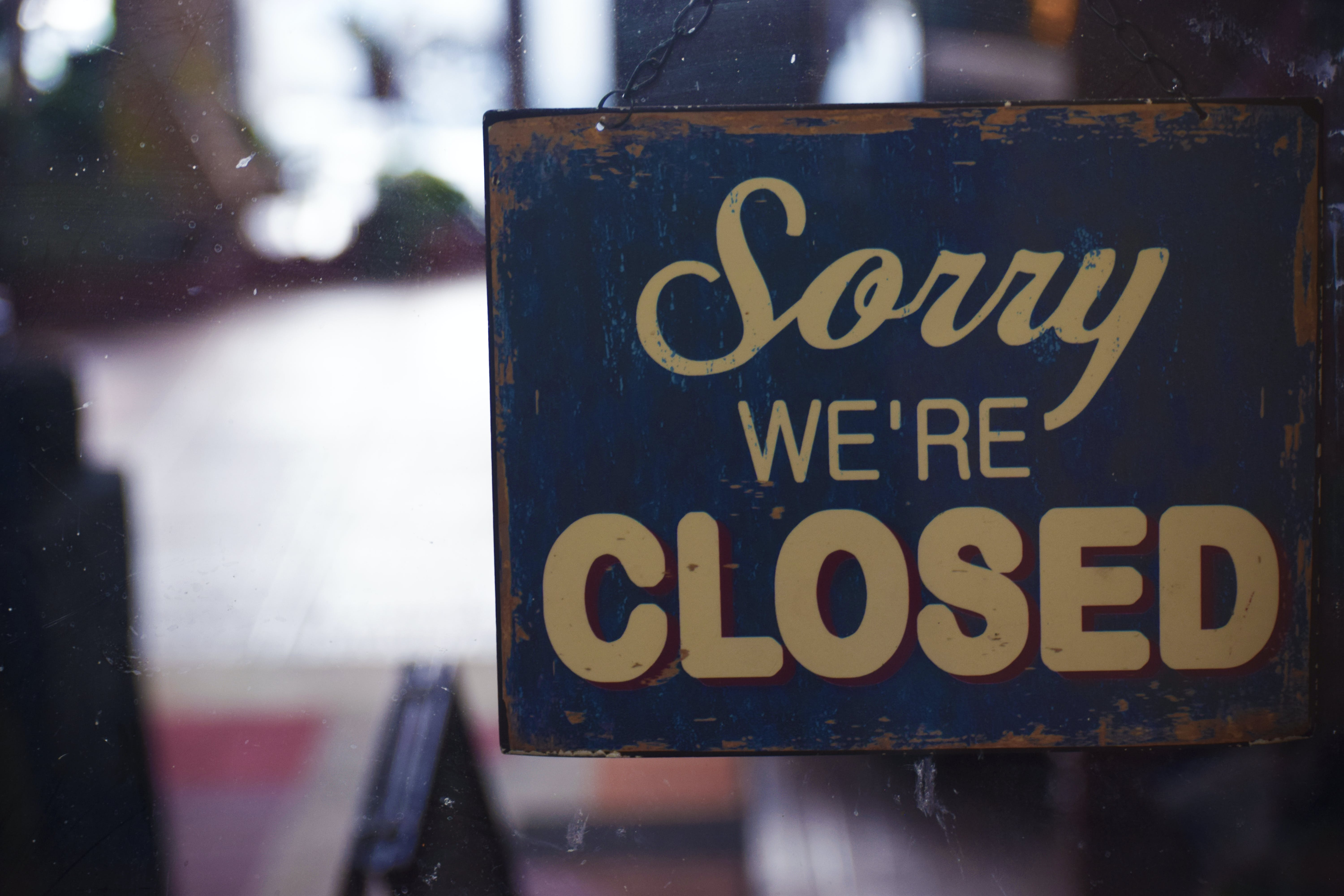 Sorry We're Closed Signboard