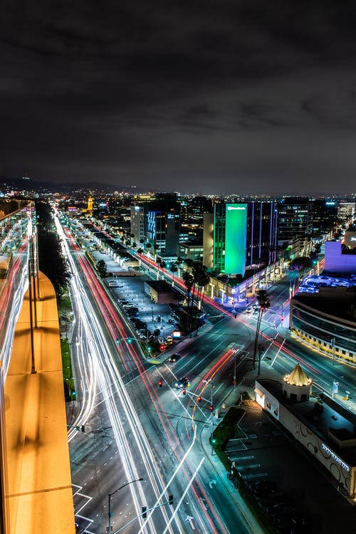 Aerial Time-lapse Photography of City Lights