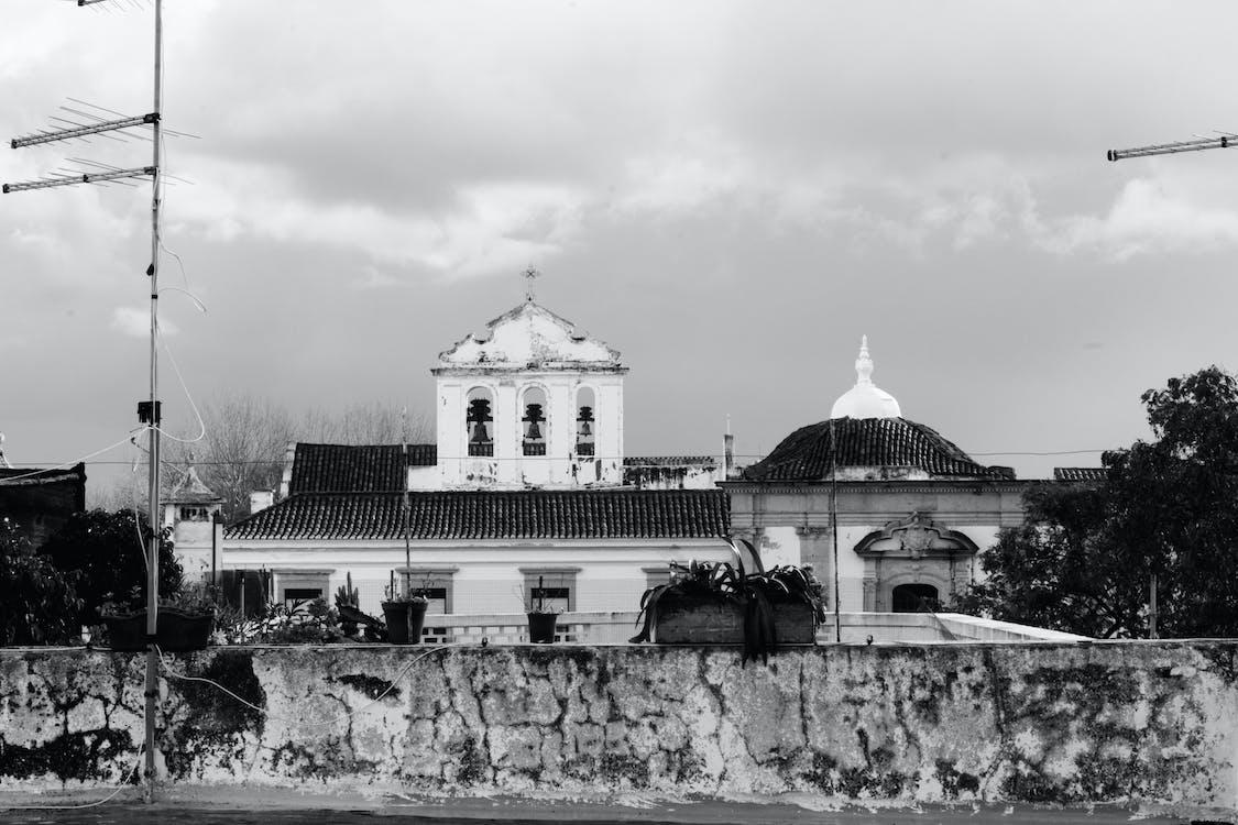 architektura, budynek, czarno-biały