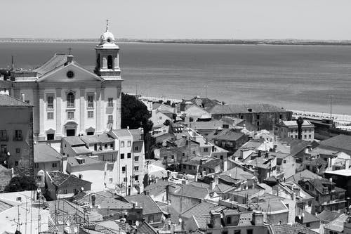 Grayscale Photograph of Town