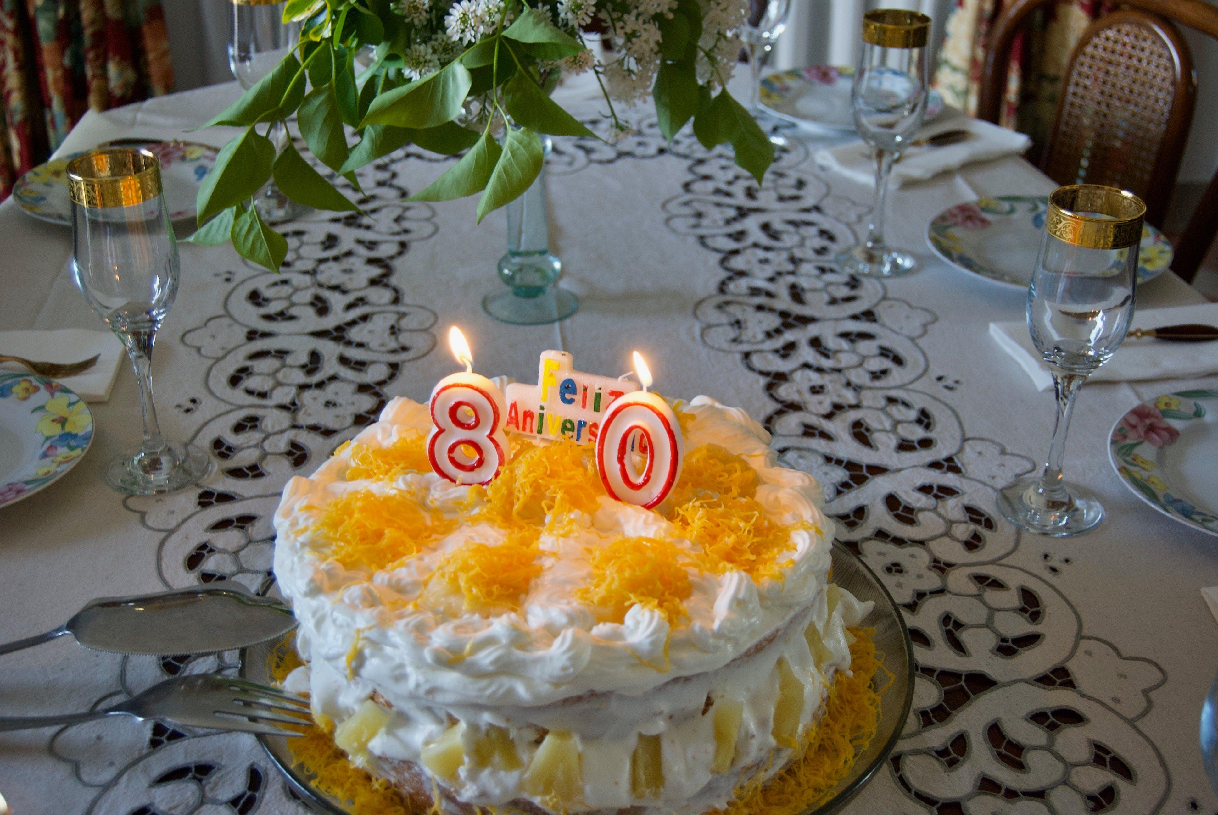 Free stock photo of 80 years, birthday, cake