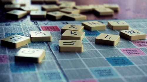 Scrabble Board Game Em Shallow Focus Lens