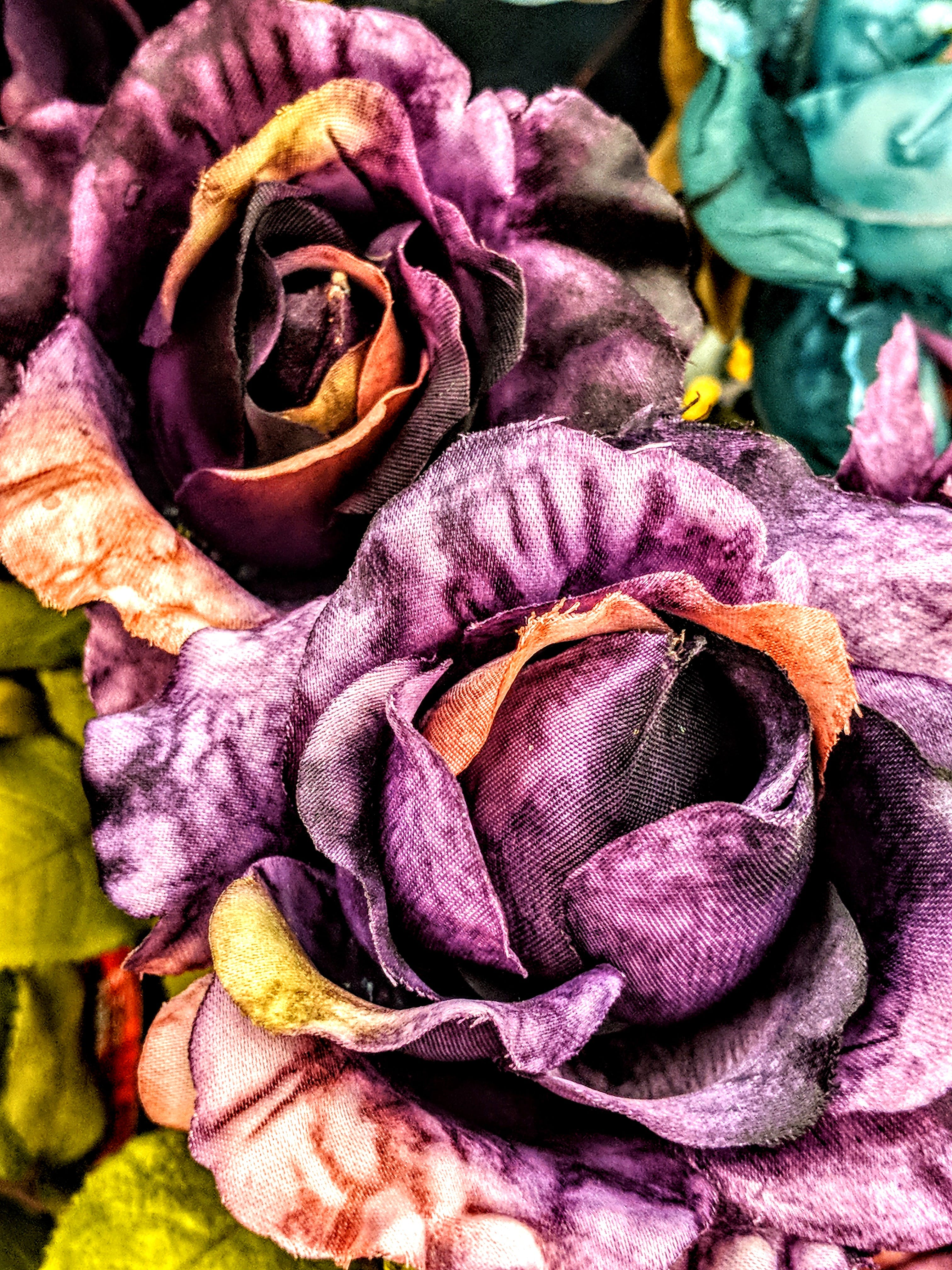 Free stock photo of colorful, fabric flowers, flowers, peach