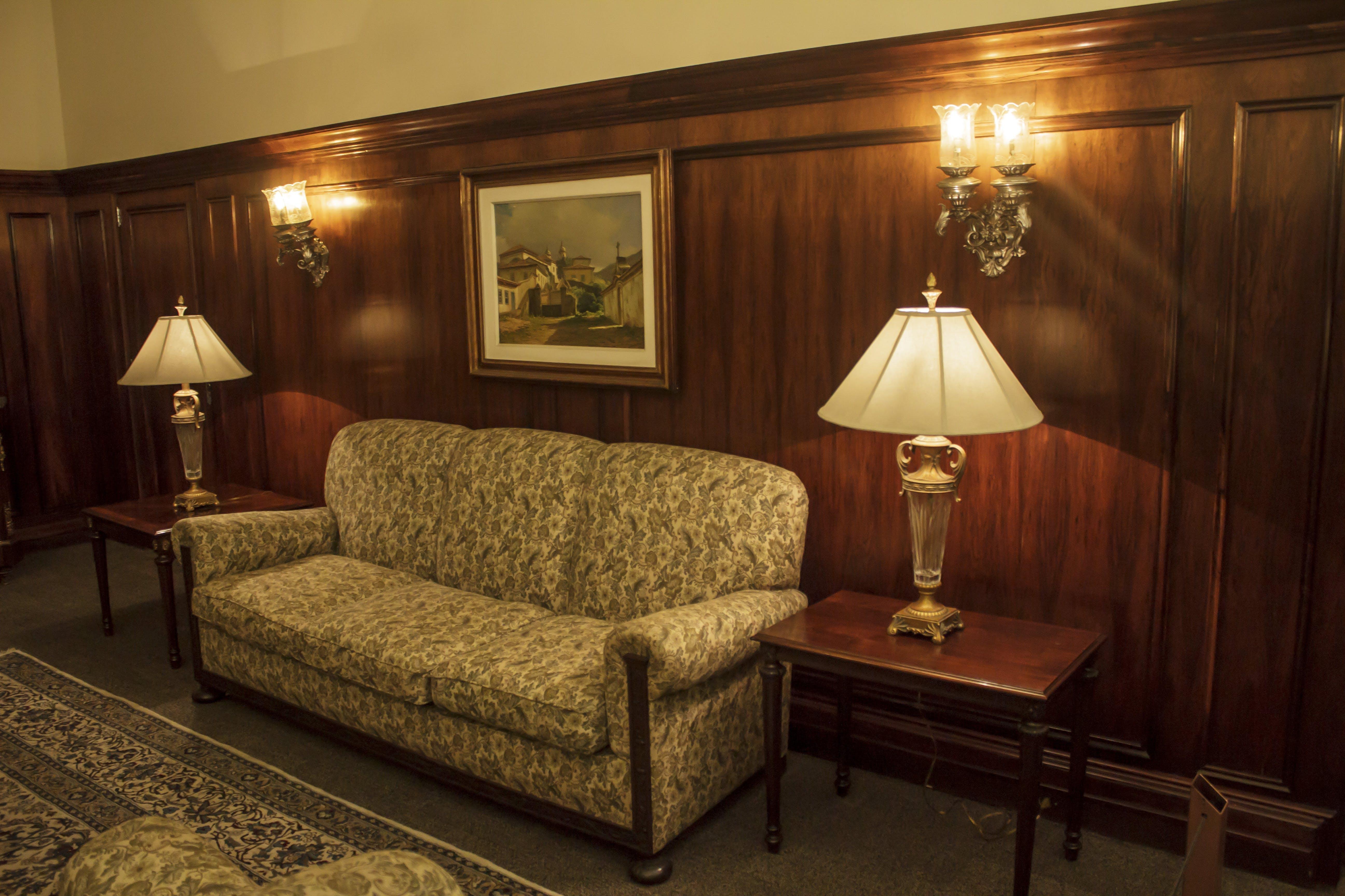 of bedside lamp, lampshade, old room, vintage