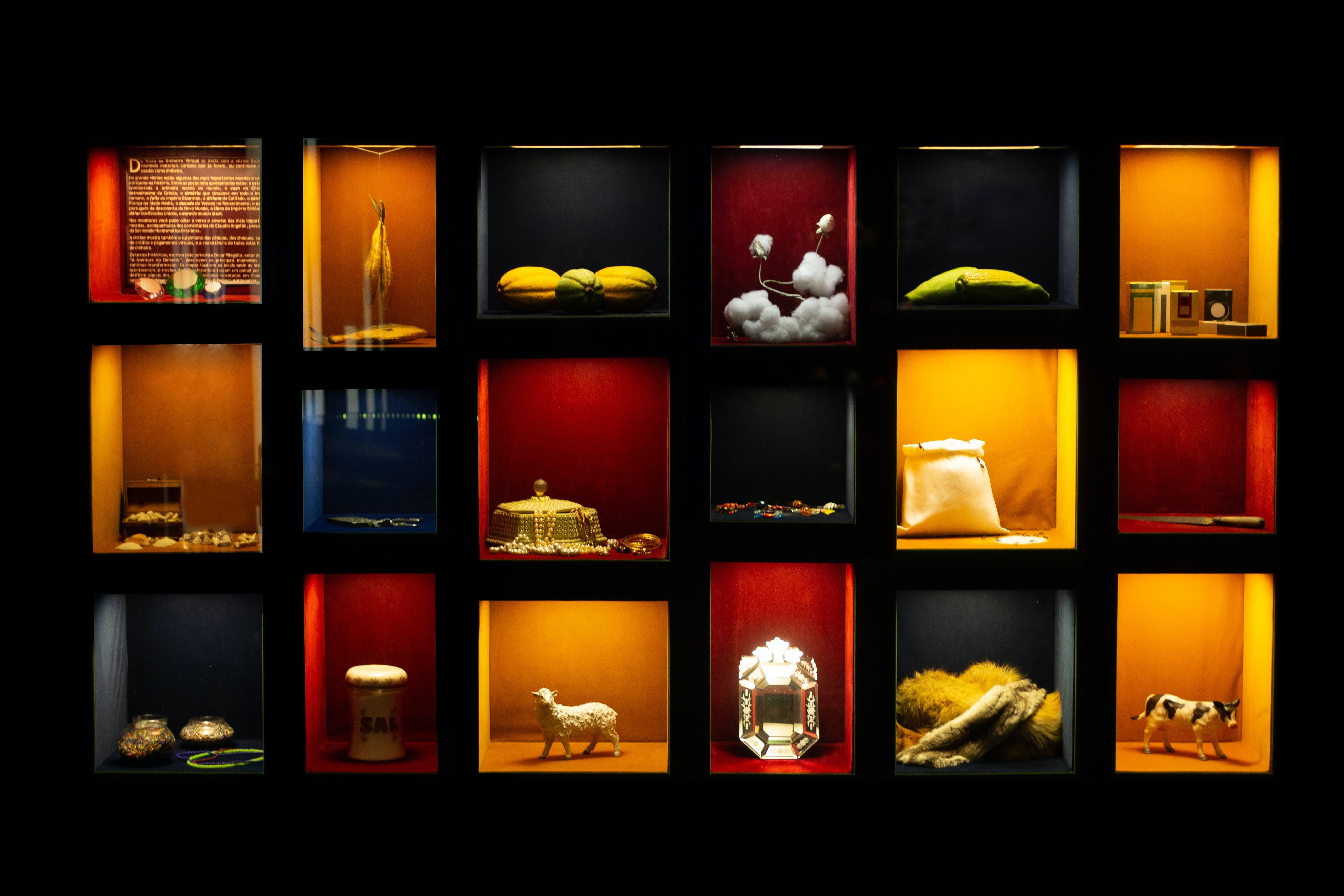 Free stock photo of colors, ornaments, bookcase, showcase