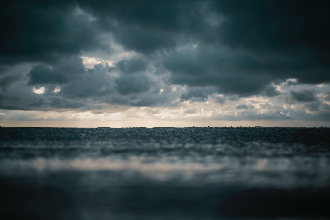 aften, dramatisk, hav