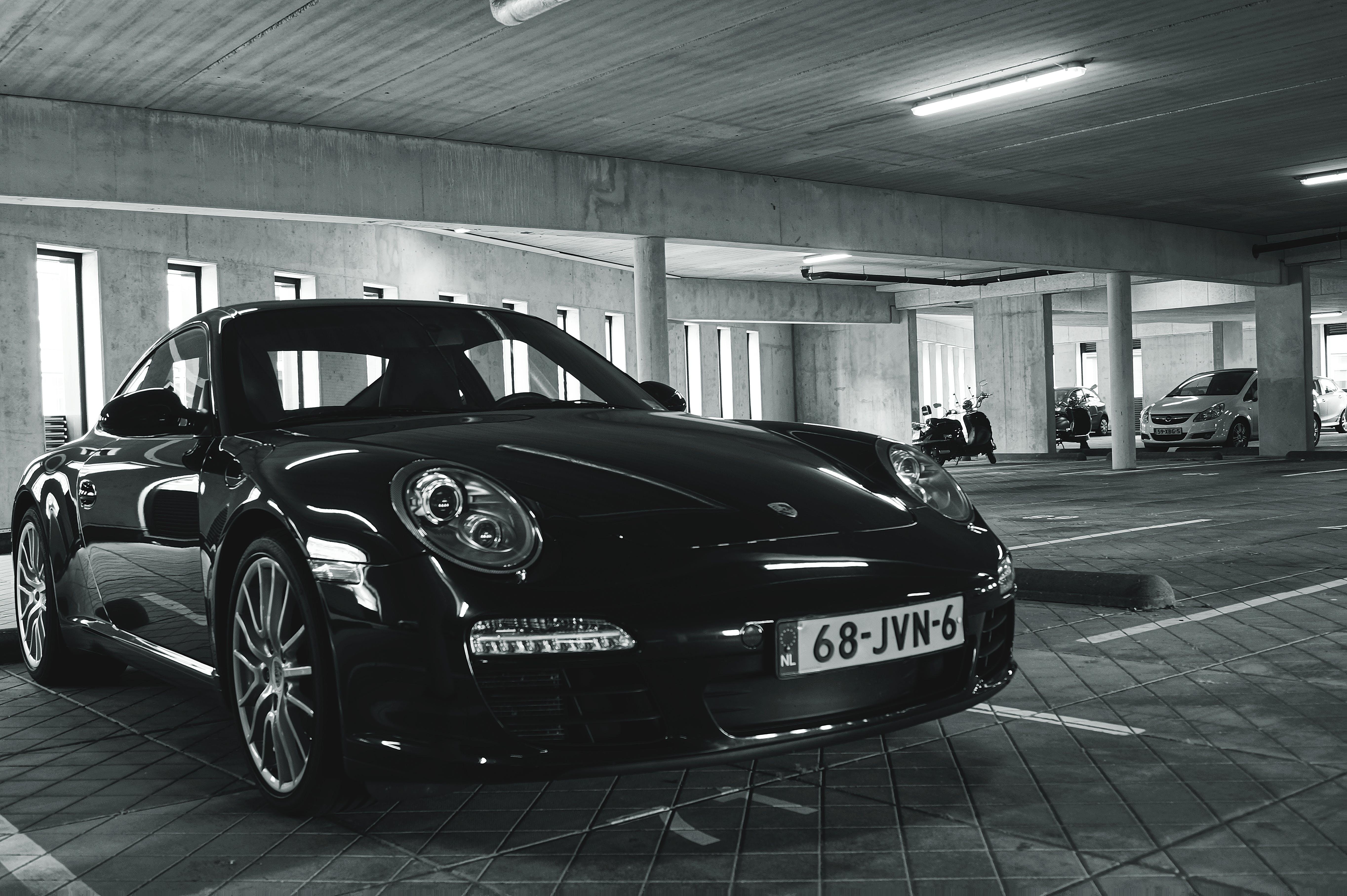 Free stock photo of black-and-white, cars, porsche, underground garage