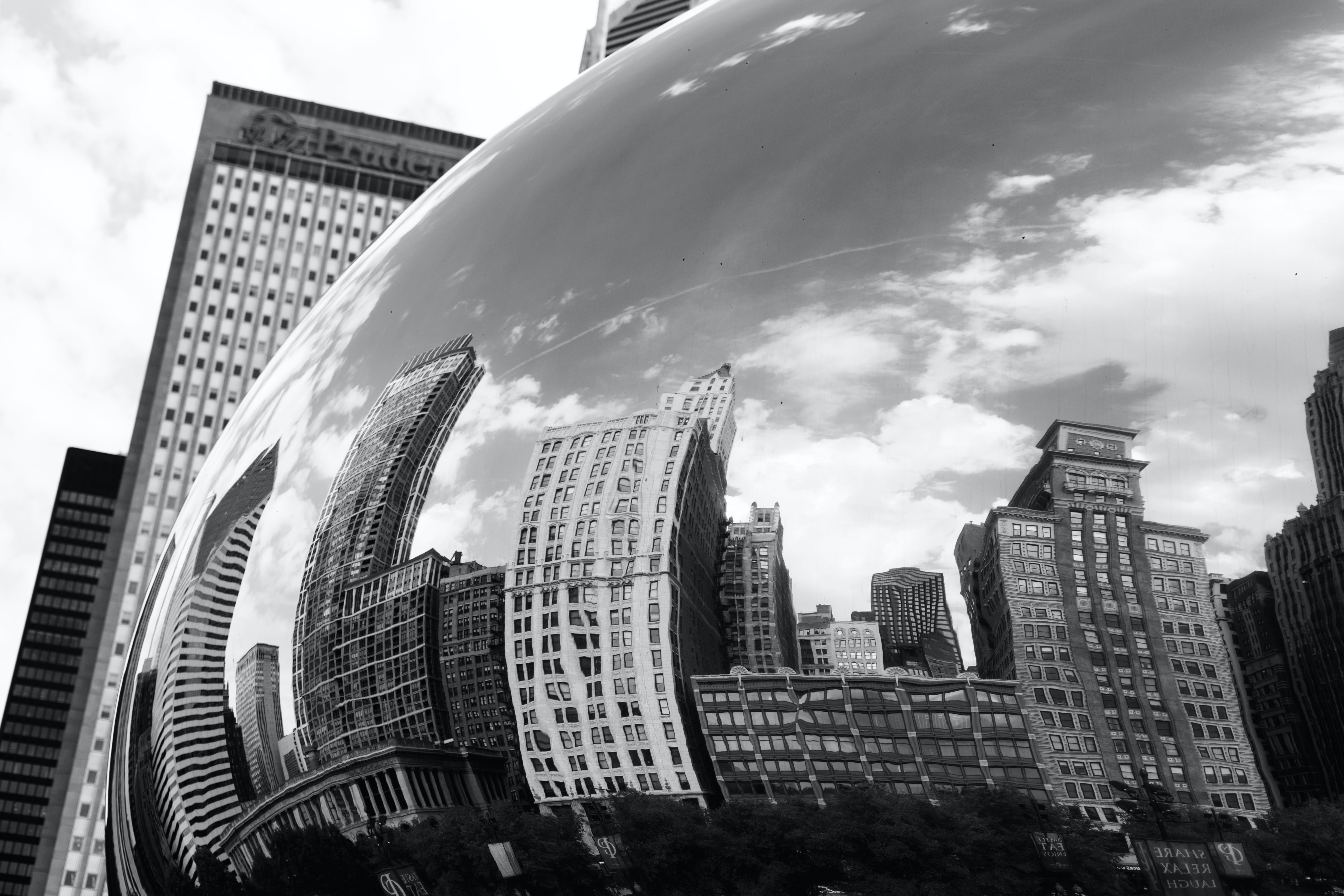 Grayscale Photography of Chicago Cloud Gate