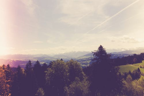 Photos gratuites de arbres, chaîne de montagnes, ciel