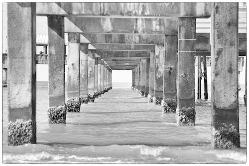 Бесплатное стоковое фото с вода, пирс, черно-белый