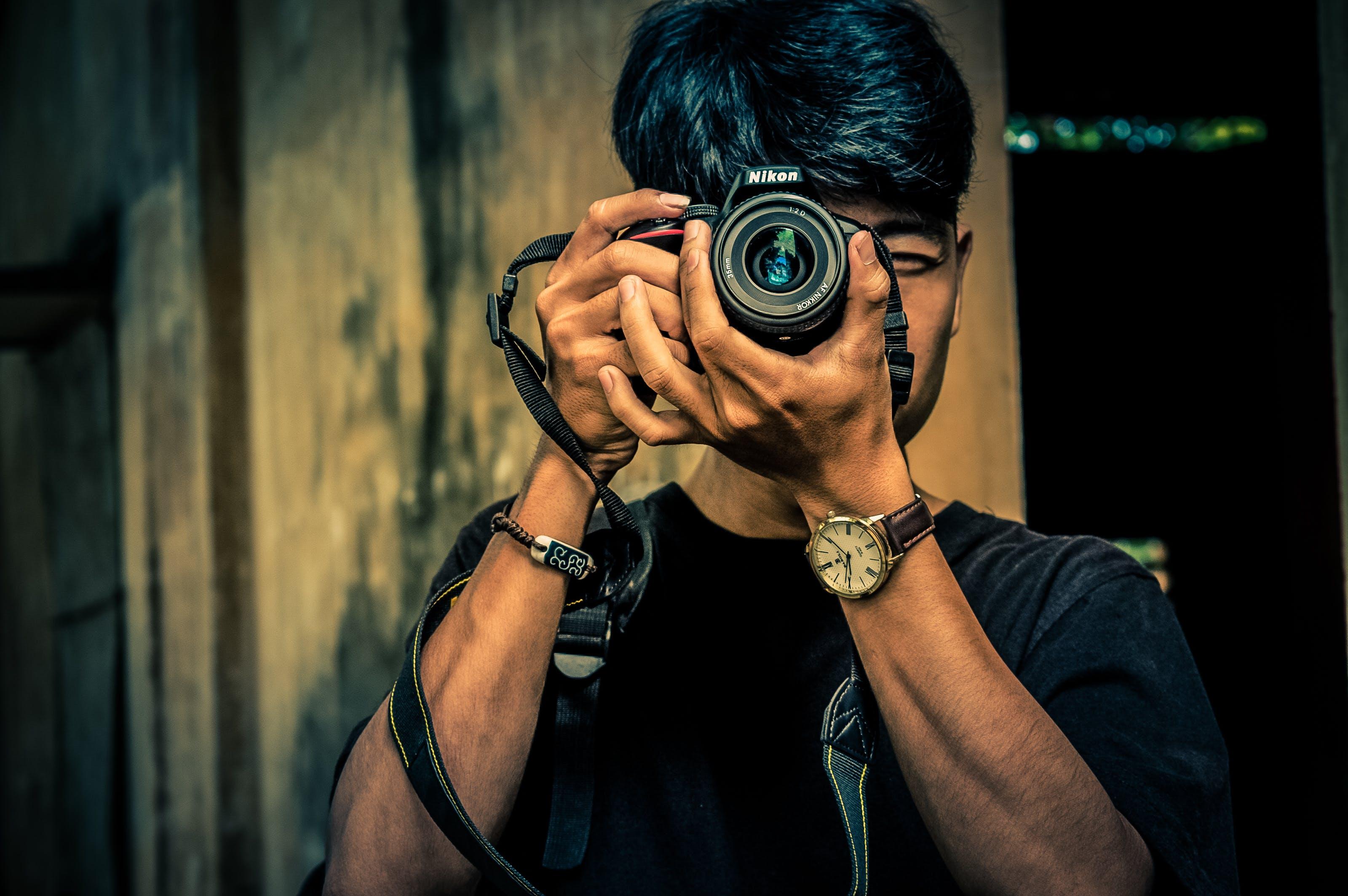 asian man, camera, fashion